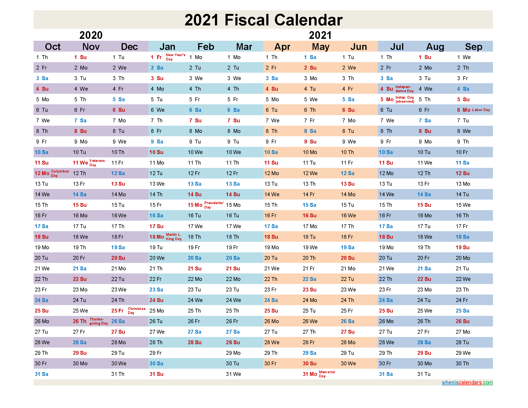 2021 Fiscal Calendar - Template No.fiscal21y26 | Free ...
