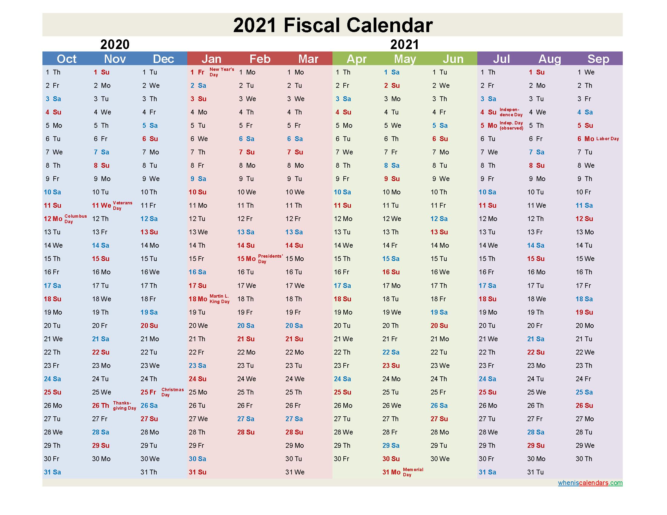 Fiscal Calendar 2021 Federal Fiscal Year
