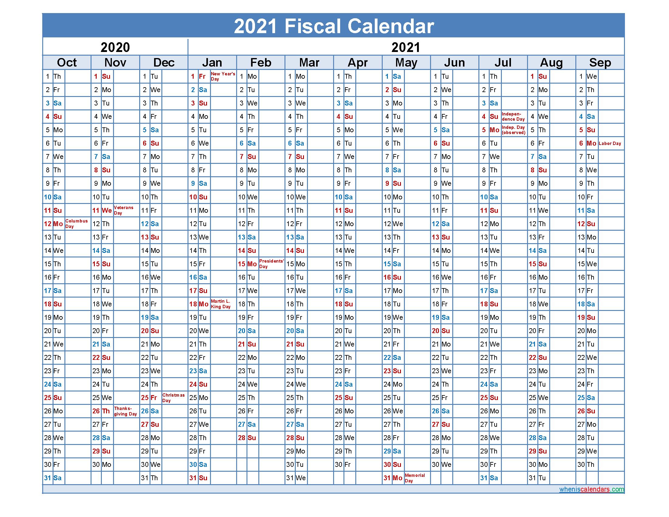 Fiscal Month Calendar 2021