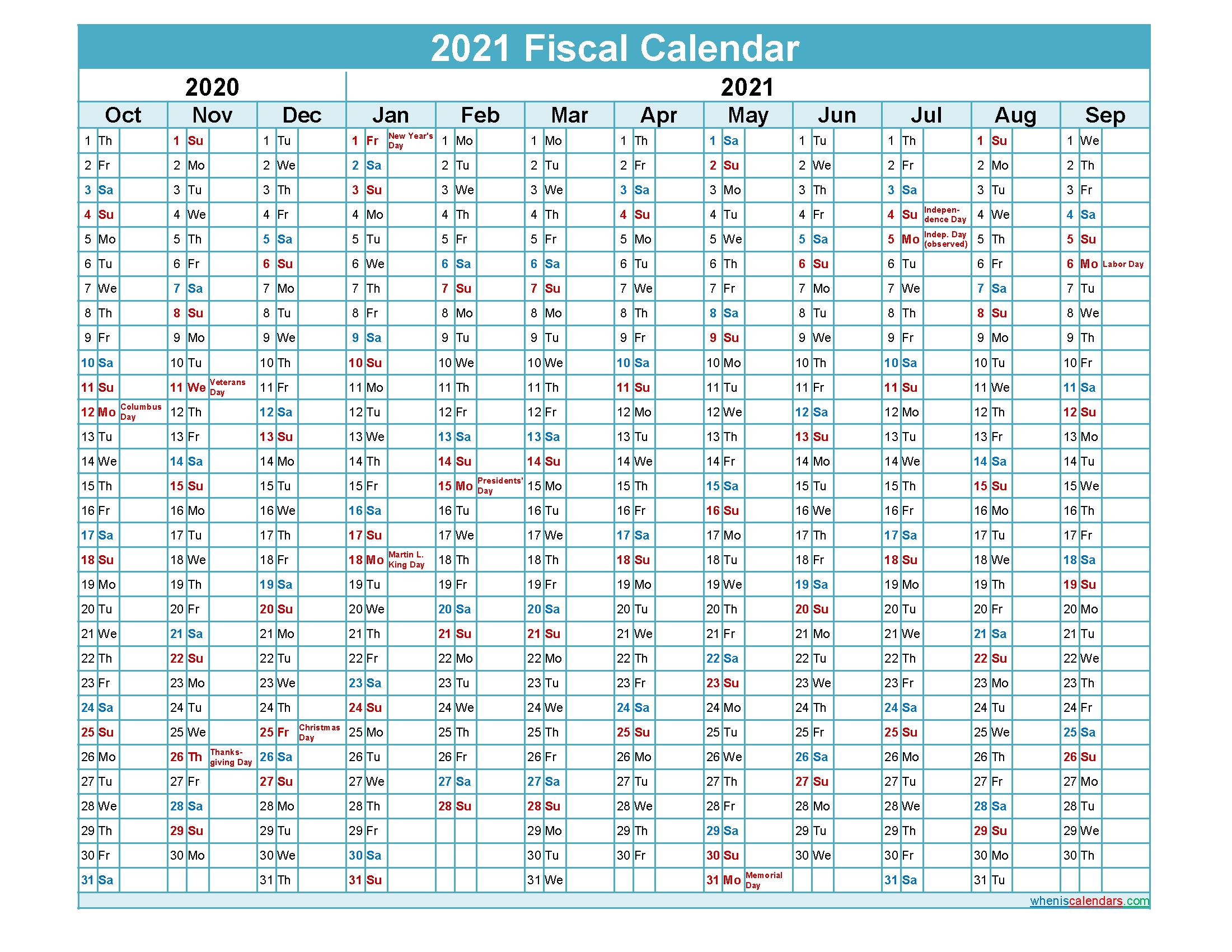Fiscal Year Calendar 2021 Fiscal Calendar 2021 Federal Fiscal Year – Template No.fiscal21y43