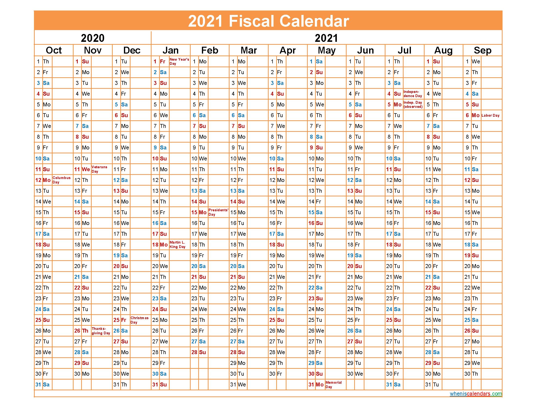 Fiscal Year 2021 Calendar