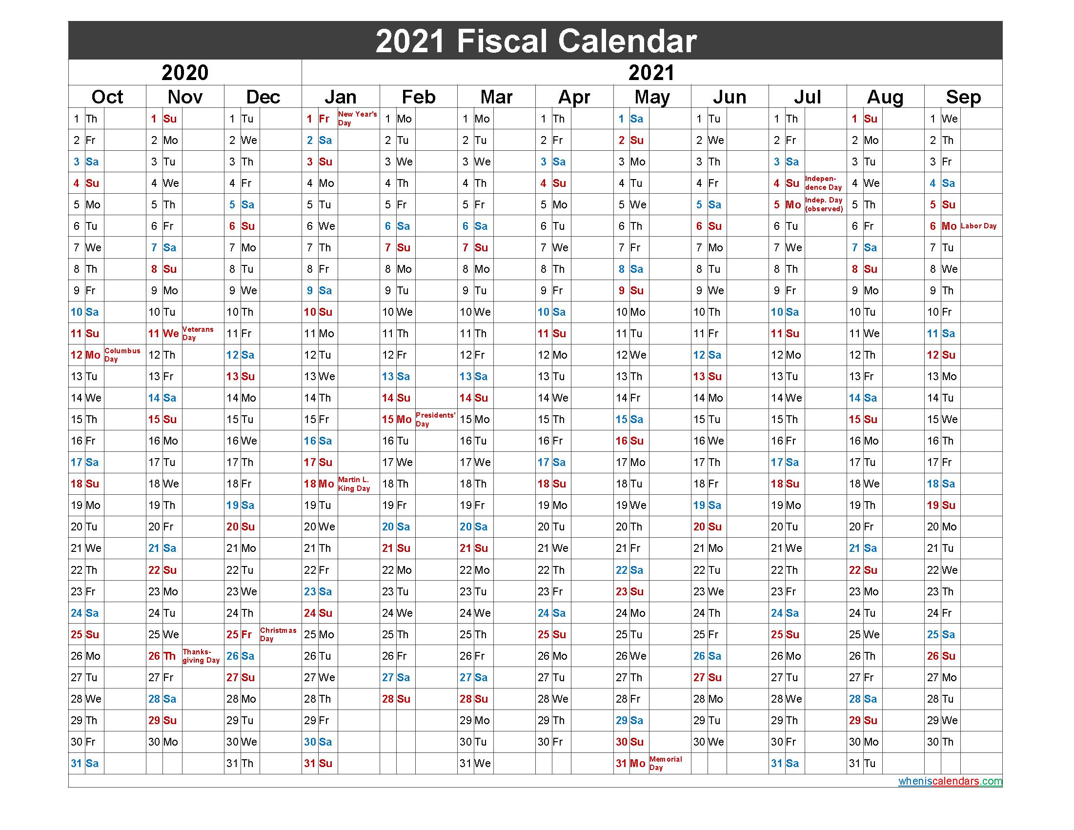 Federal Fiscal Year 2021 Calendar