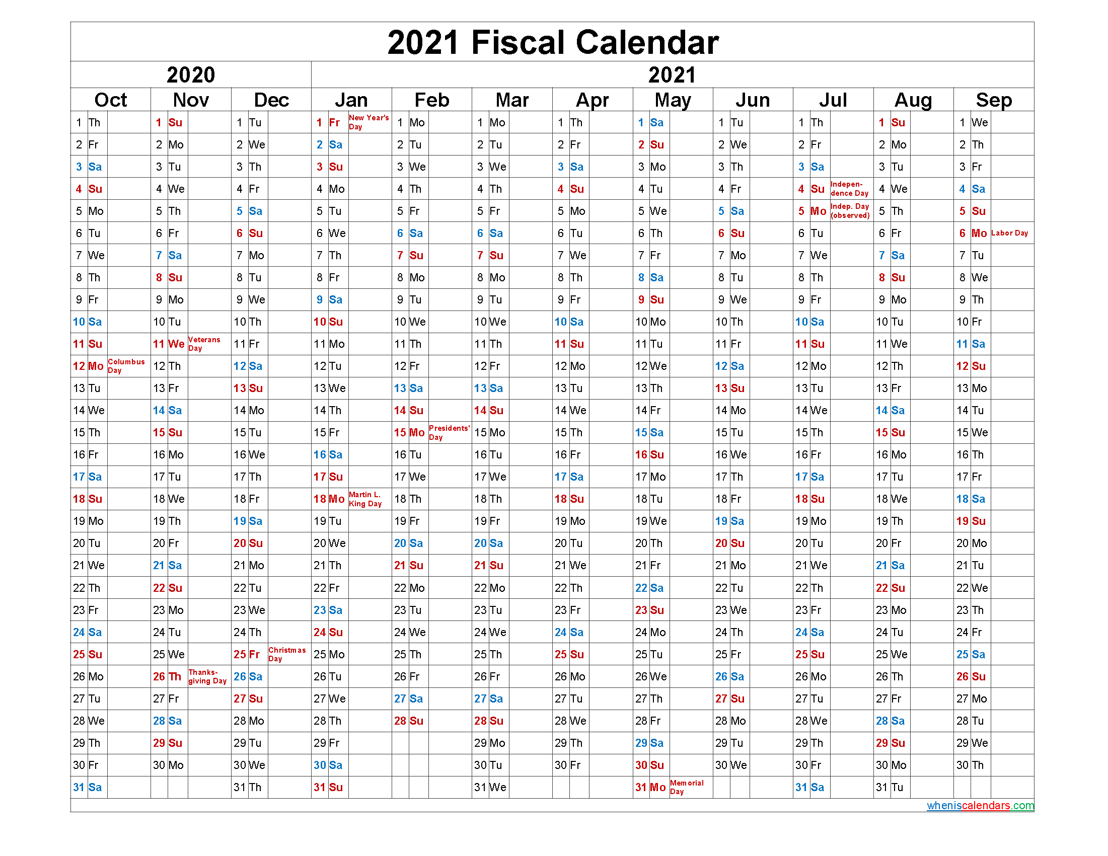 Fiscal Year Calendar 2021