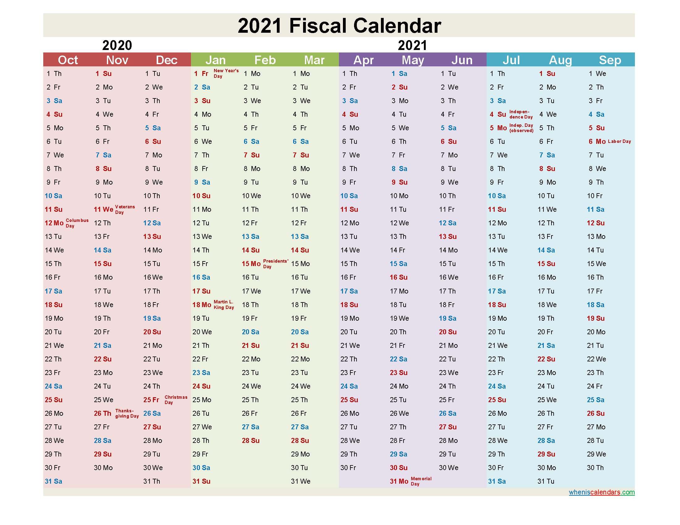 Calendar Quarters 2021 Fiscal Year 2021 Quarters – Template No.fiscal21y6 – Free