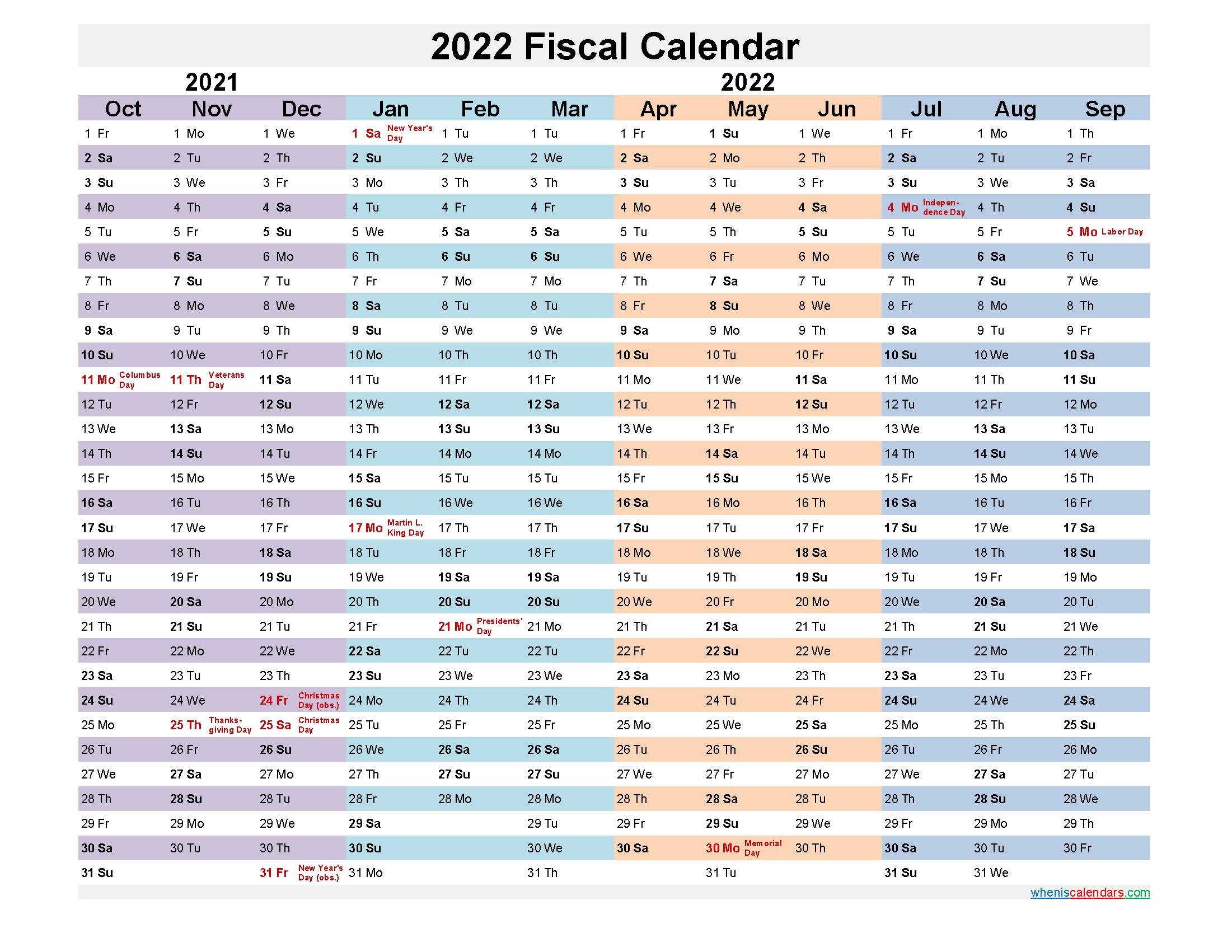 2022 Fiscal Calendar