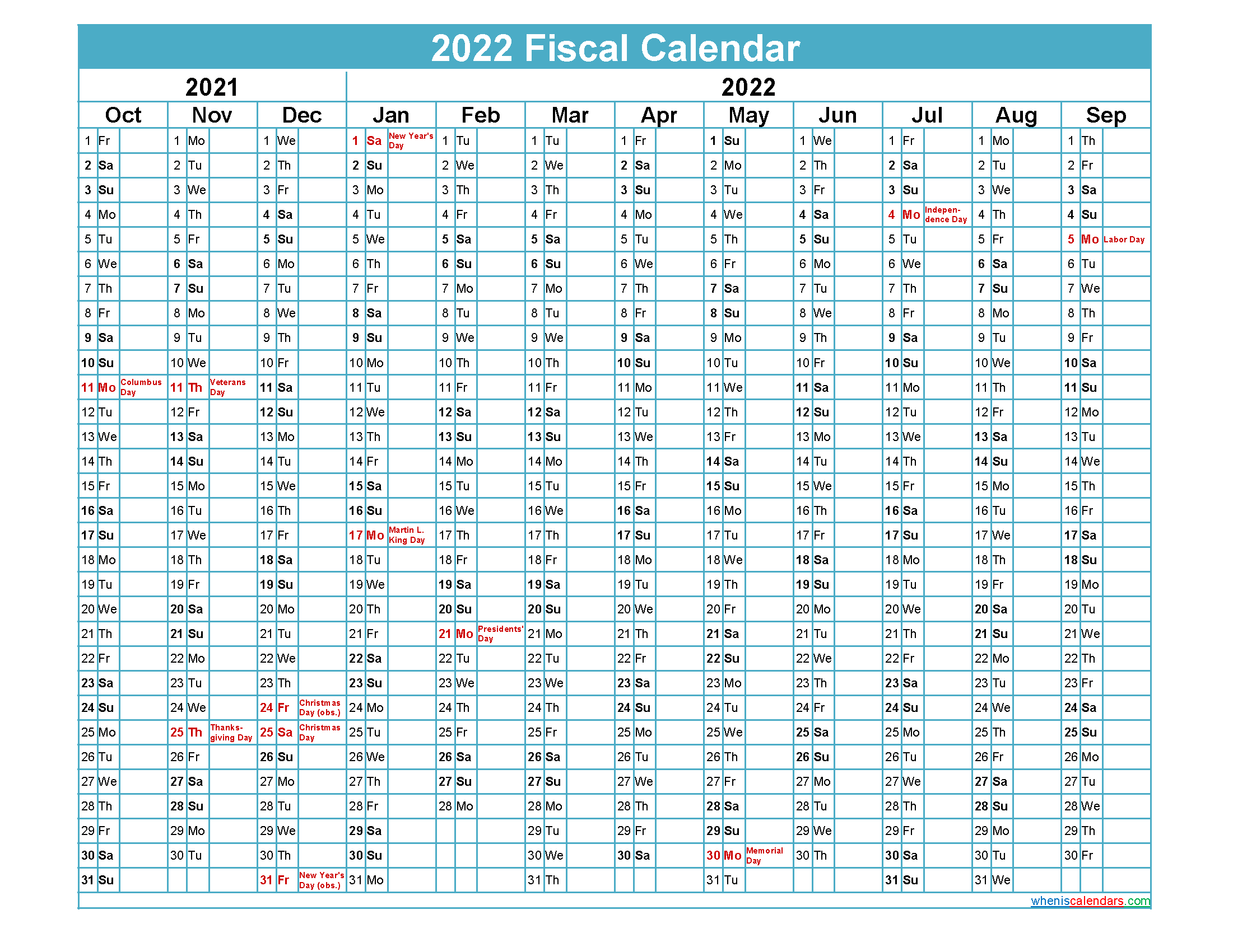 2022 Fiscal Calendar.Fiscal Calendar 2022 Federal Fiscal Year Template No Fiscal22y43 Free Printable 2021 Monthly Calendar With Holidays
