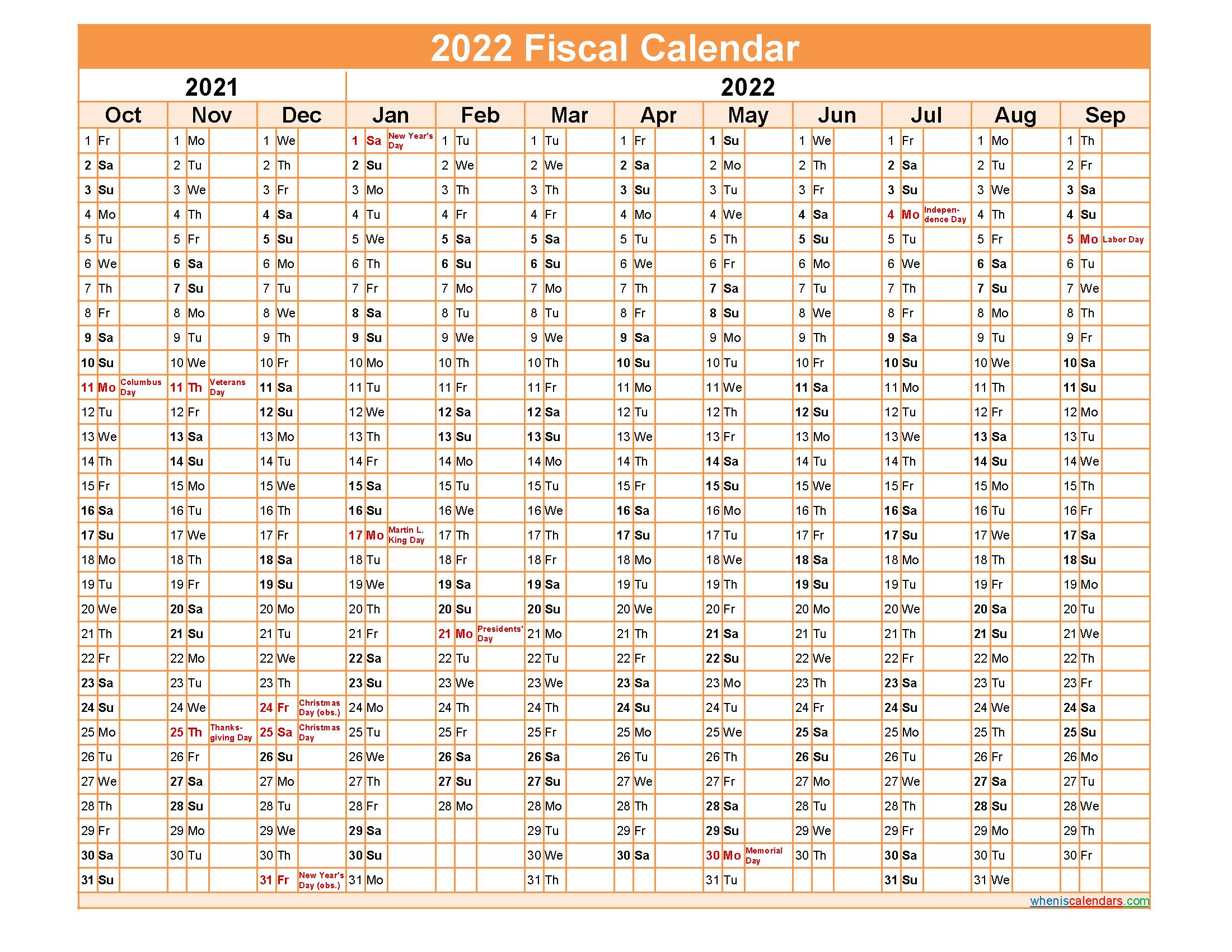 Federal Fiscal Year 2022 Calendar