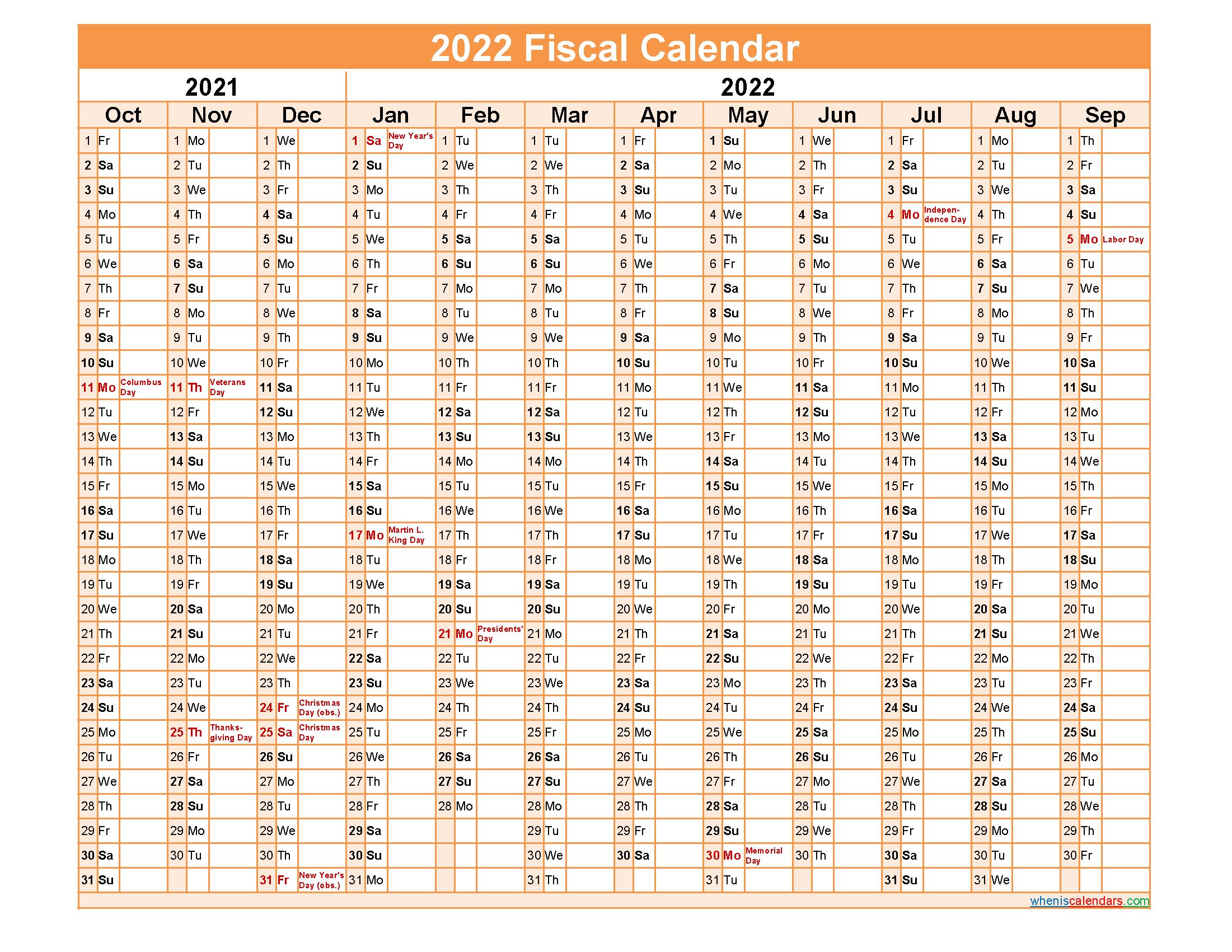 Fiscal Month Calendar 2022