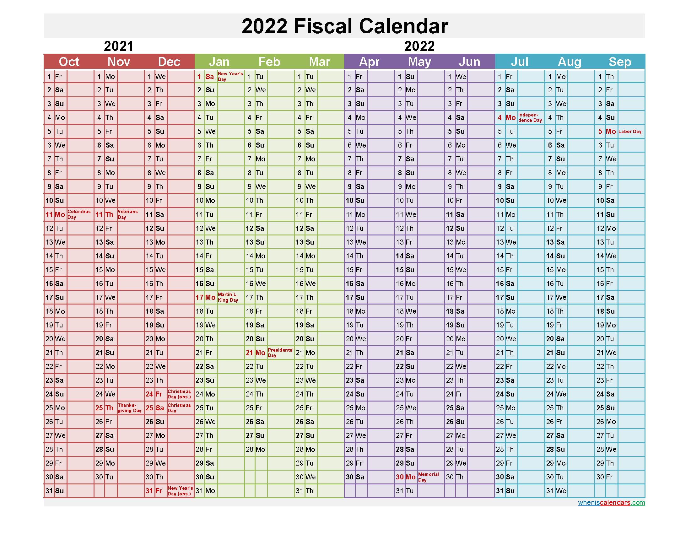 Fiscal Year 2022 Calendar
