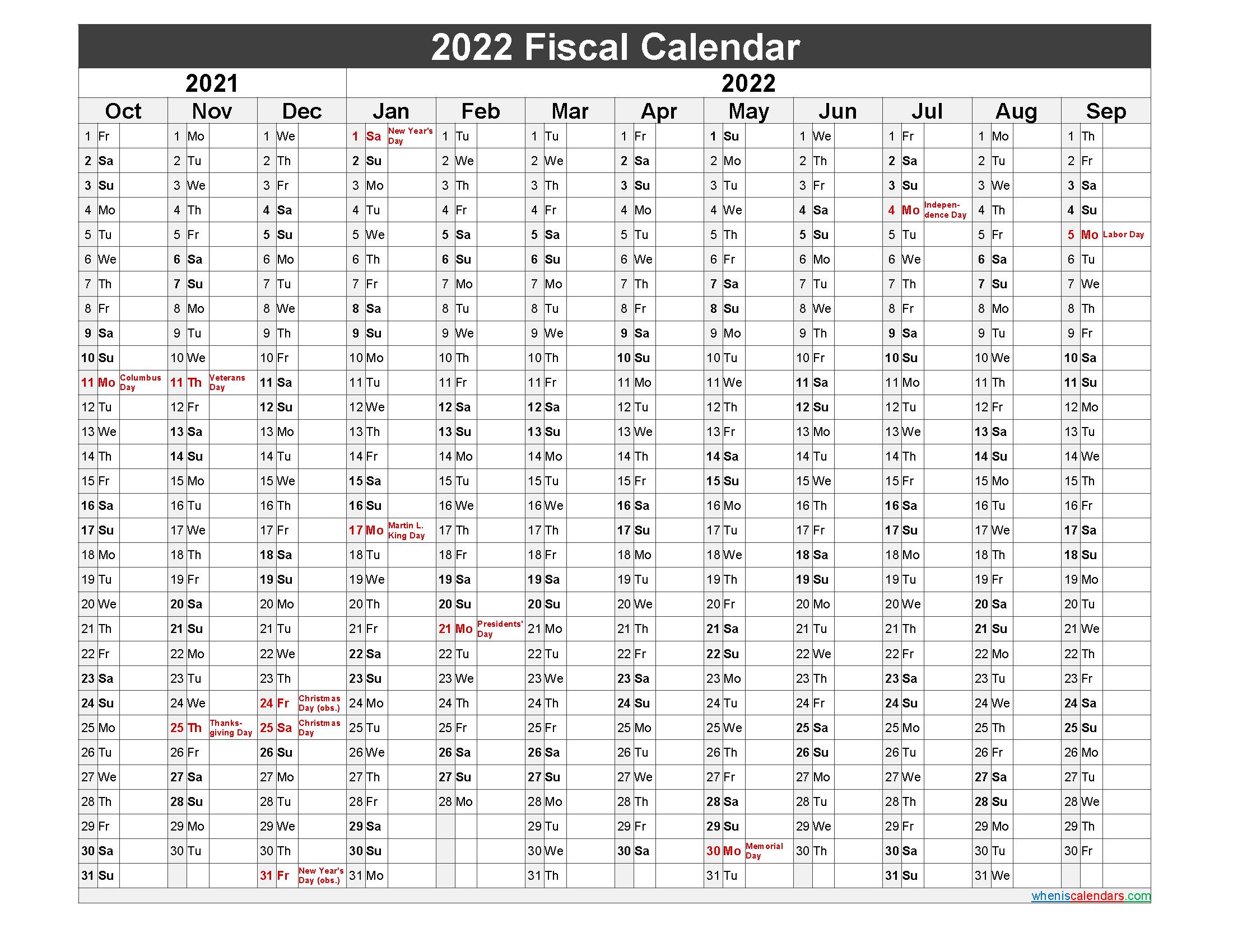 Fiscal Calendar 2022 Federal Fiscal Year