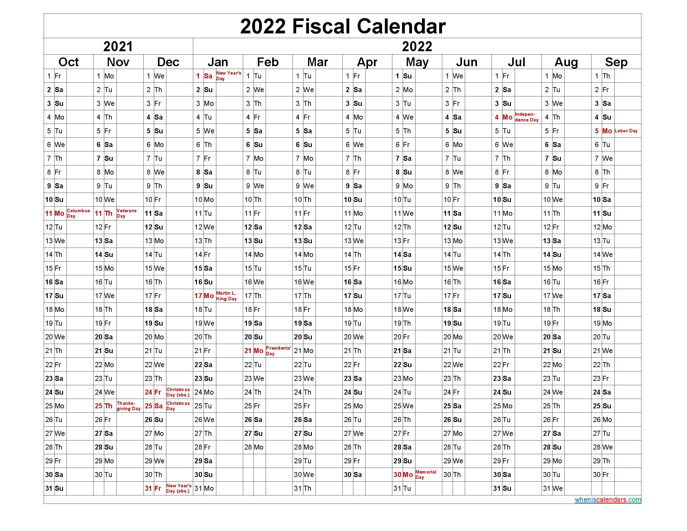 Fiscal Year Calendar 2022