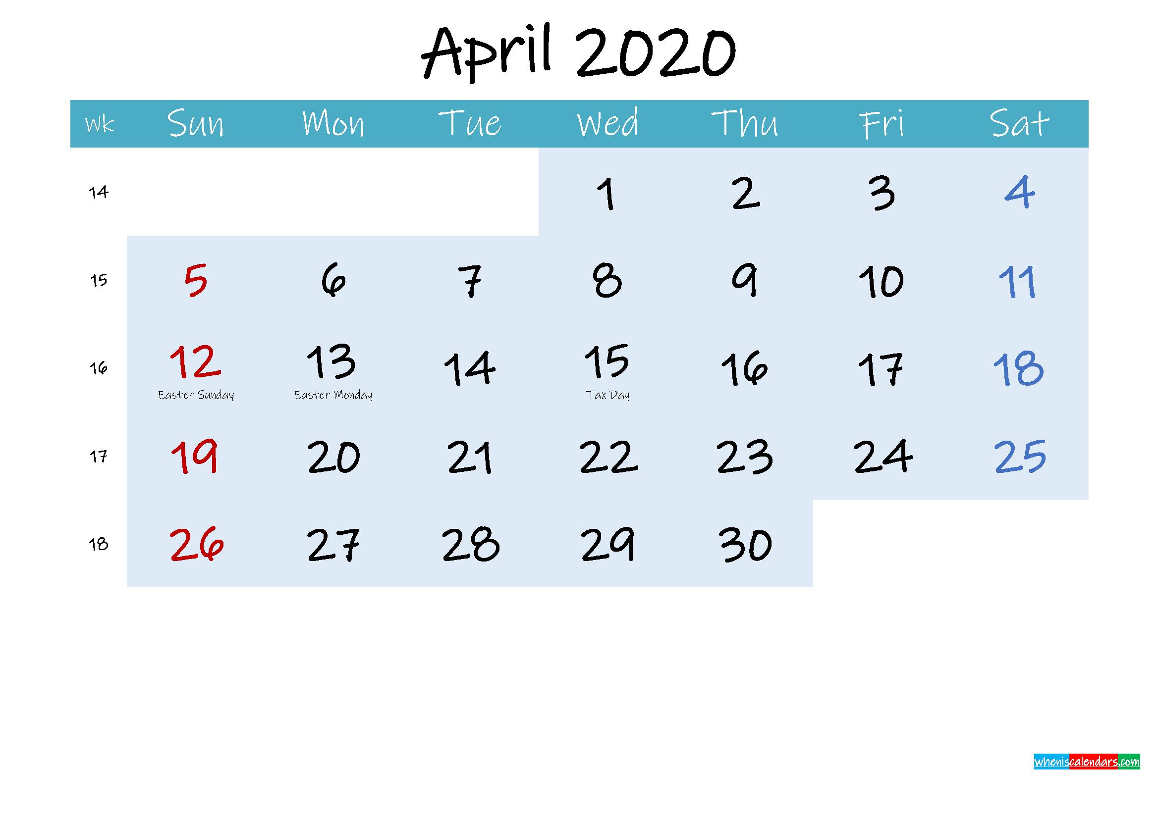 Printable April 2020 Calendar Word