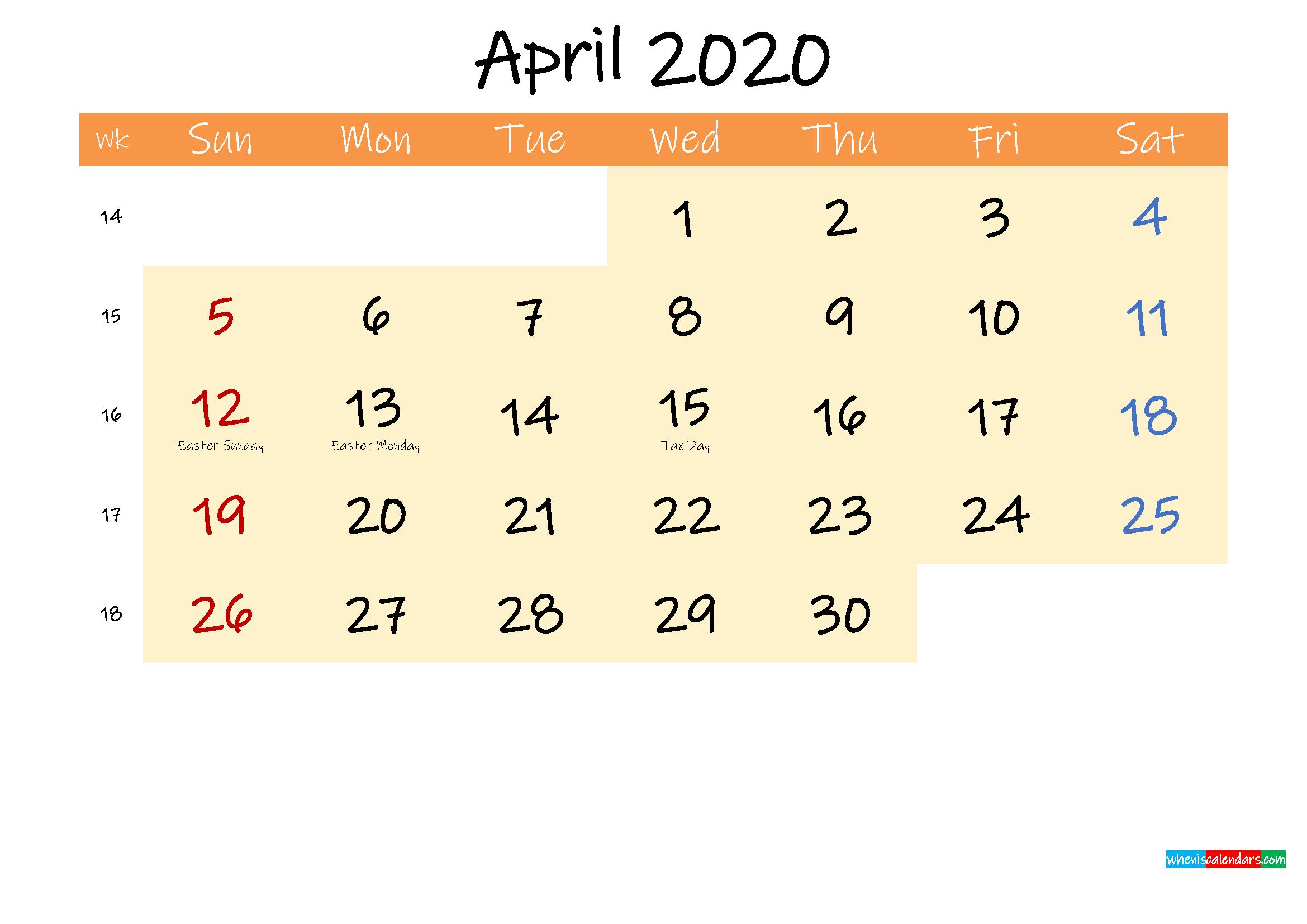 Editable April 2020 Calendar