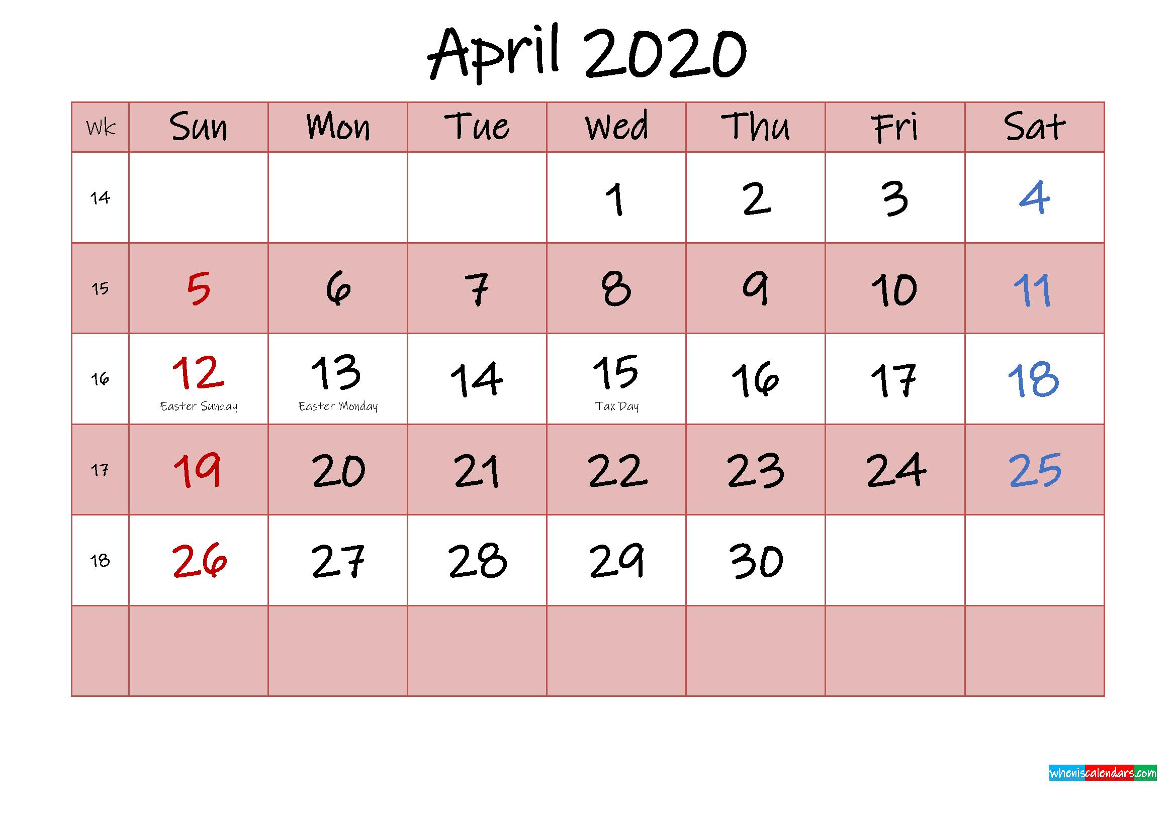 Free Printable Coloring Calendar 2020 April