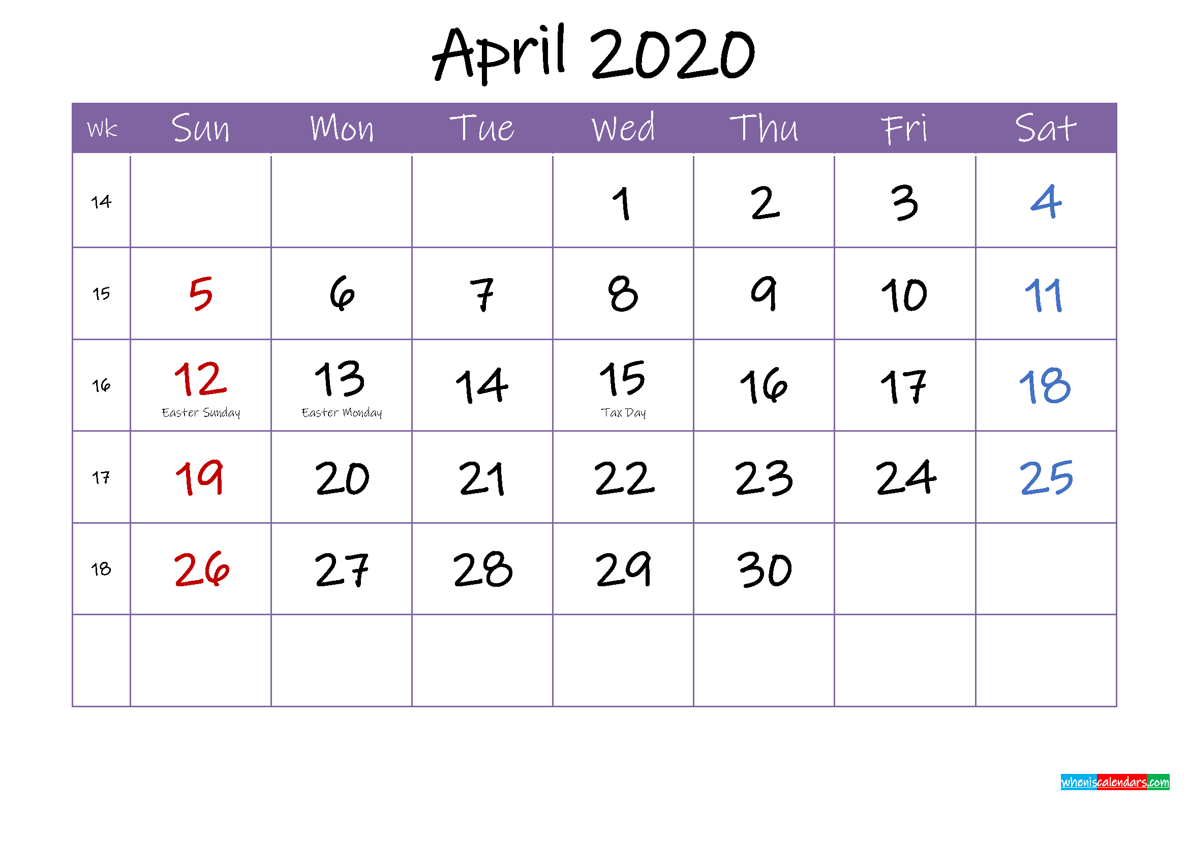 April 2020 Calendar with Holidays Printable