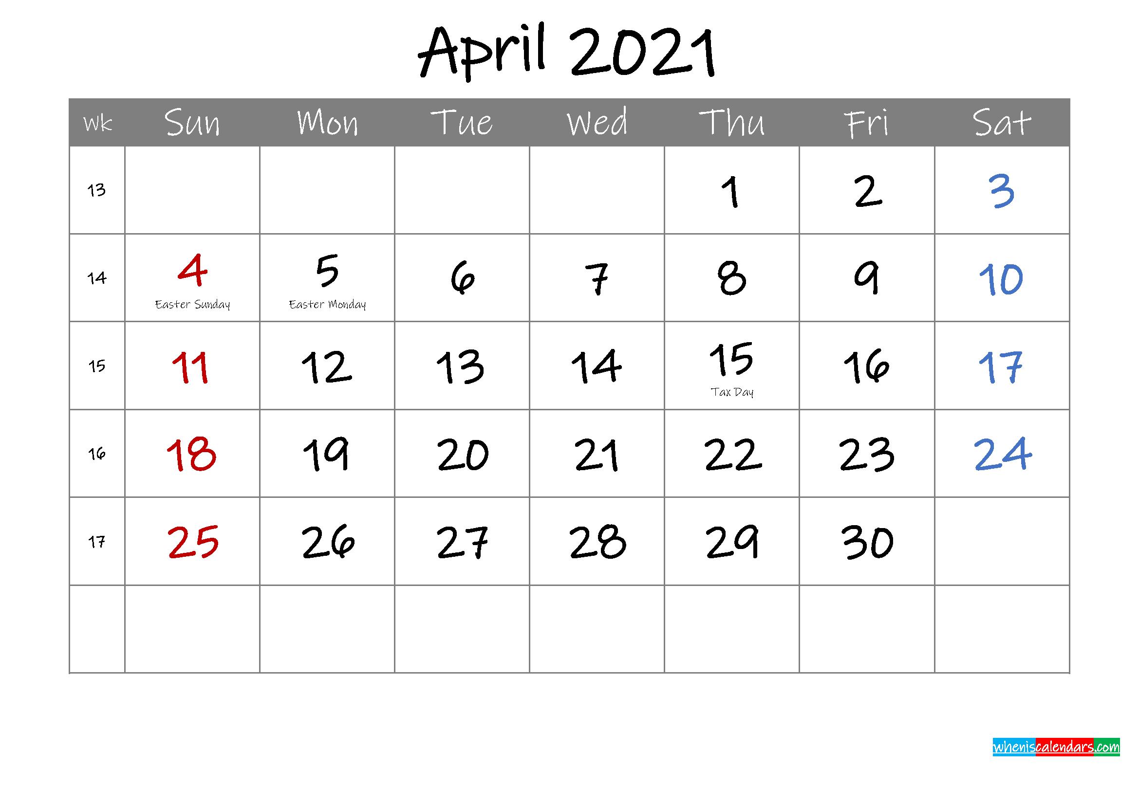 Editable April 2021 Calendar with Holidays