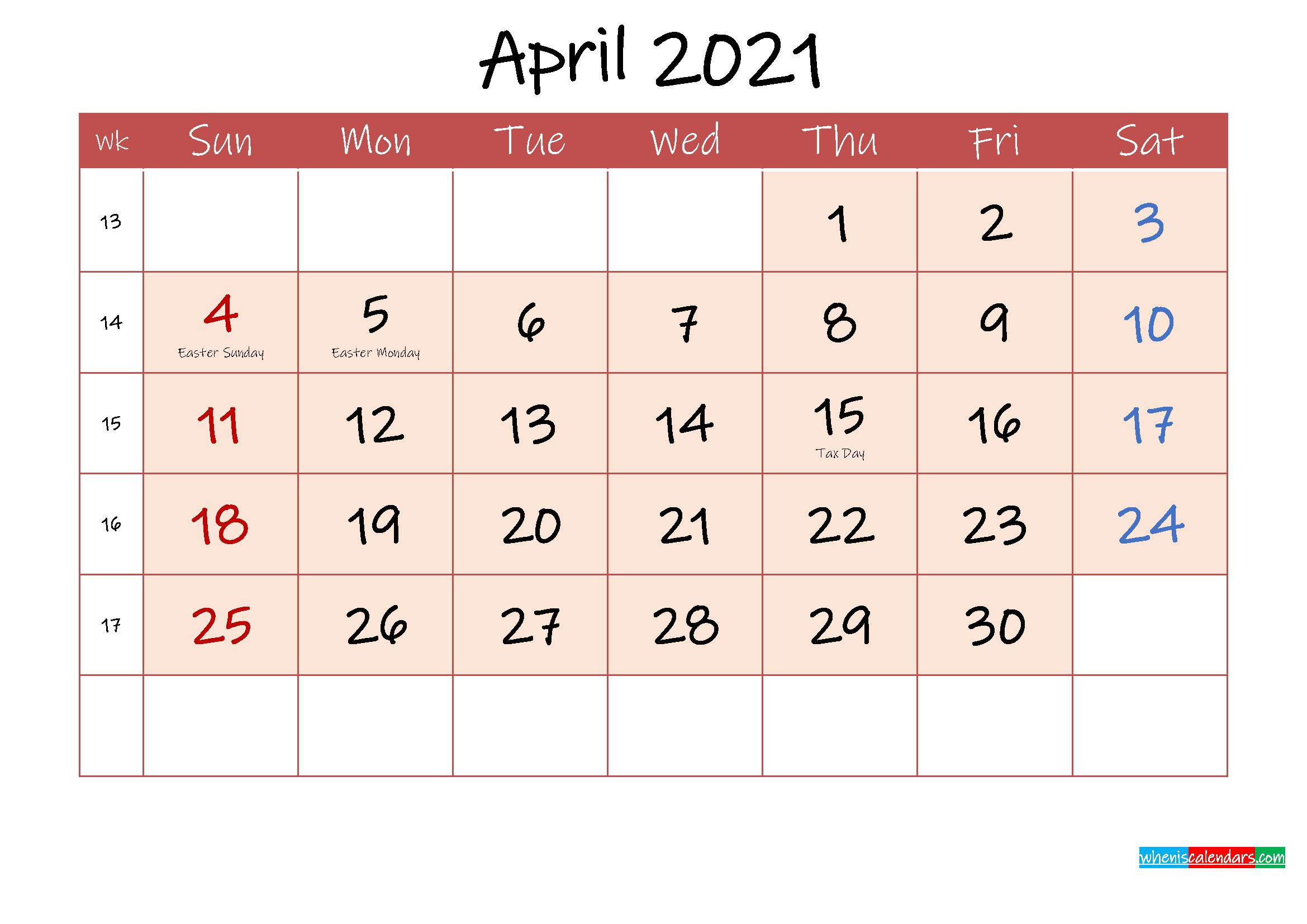April 2021 Free Printable Calendar with Holidays