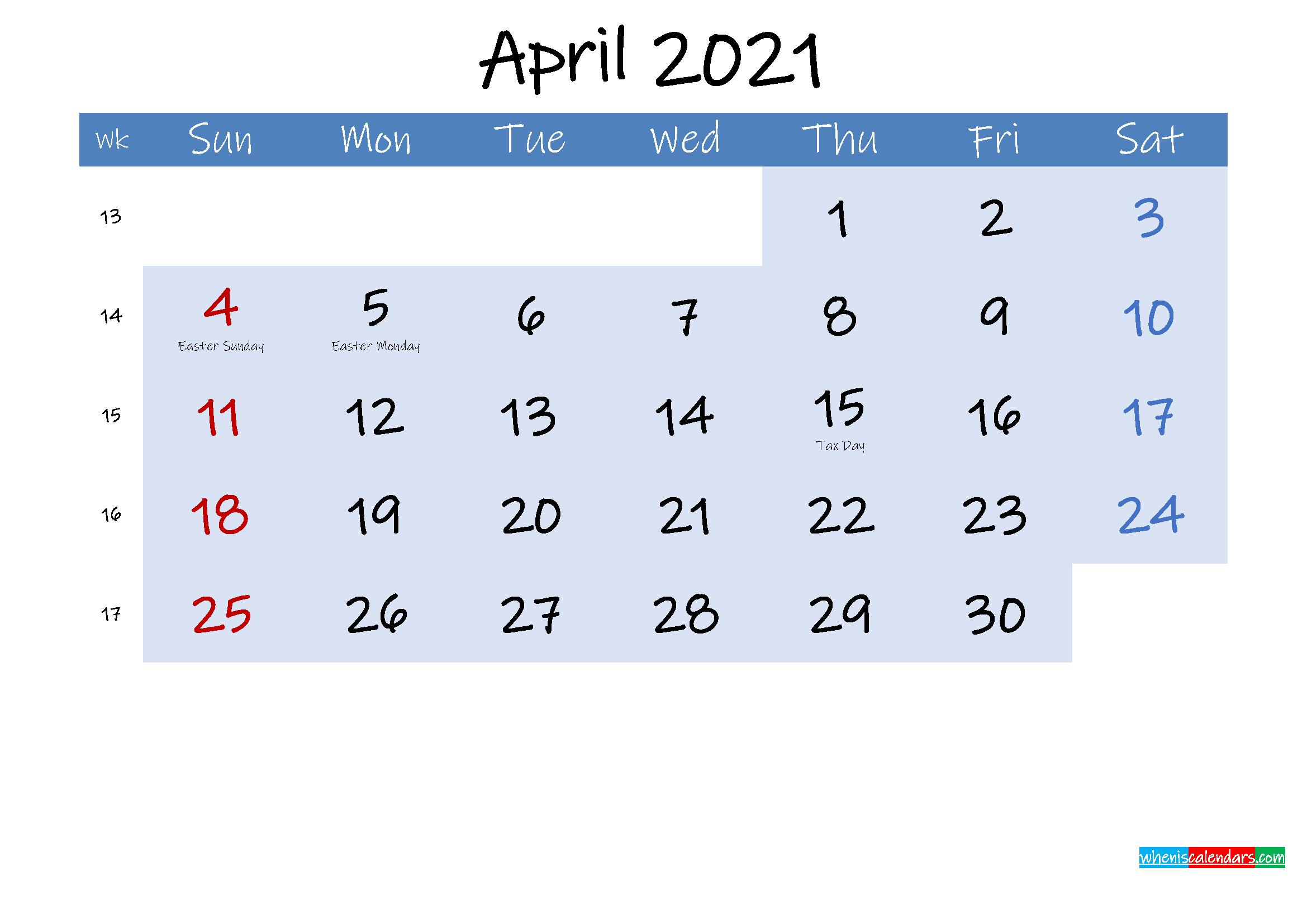 Free April 2021 Monthly Calendar PDF