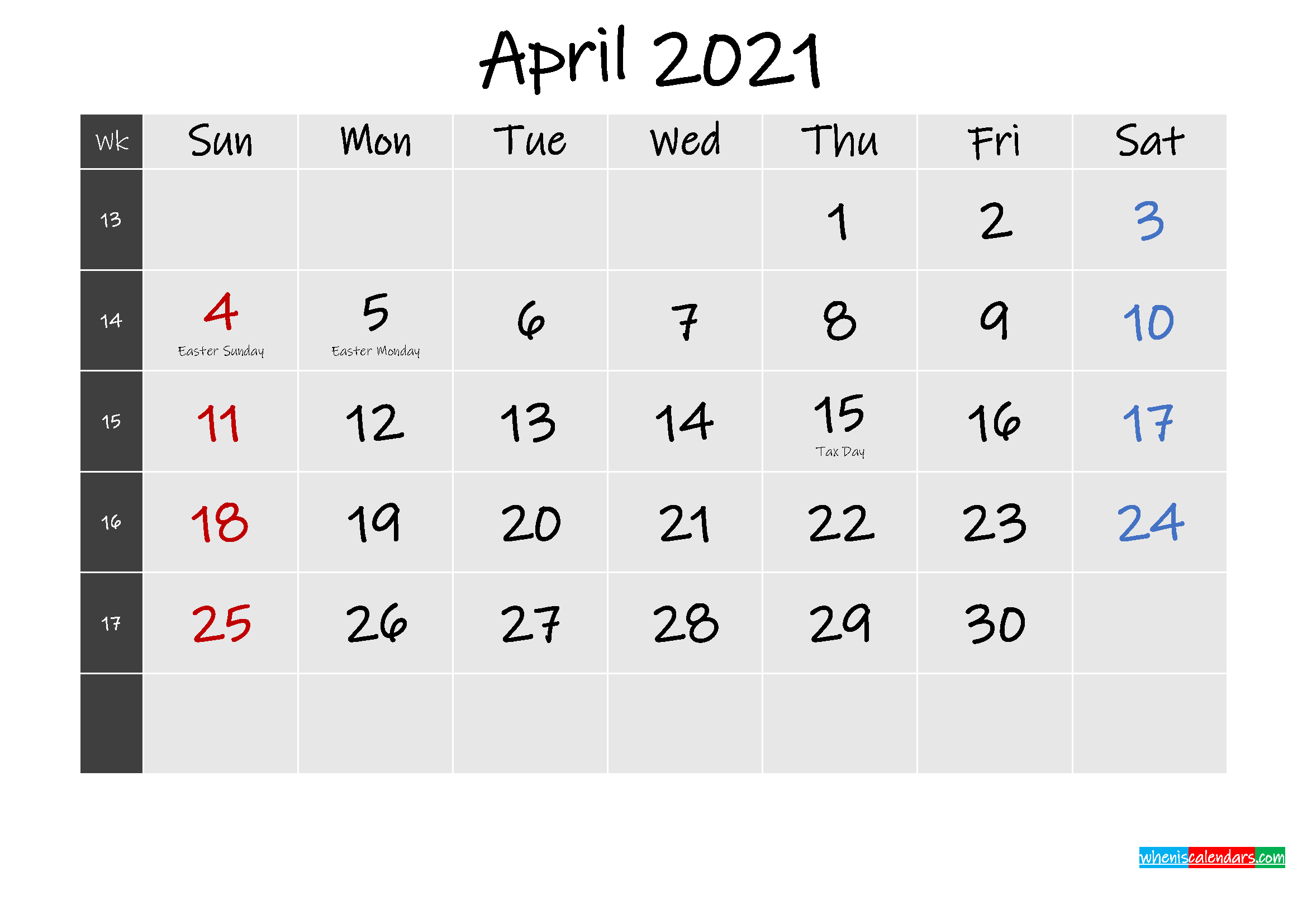 Printable April 2021 Calendar Word