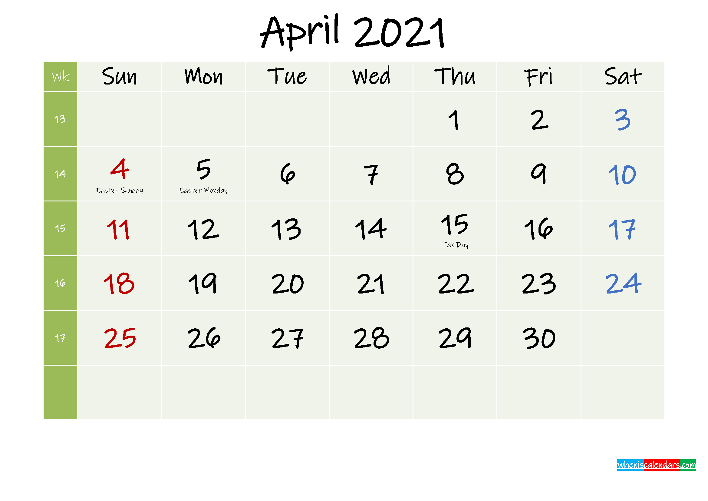 April 2021 Calendar with Holidays Printable