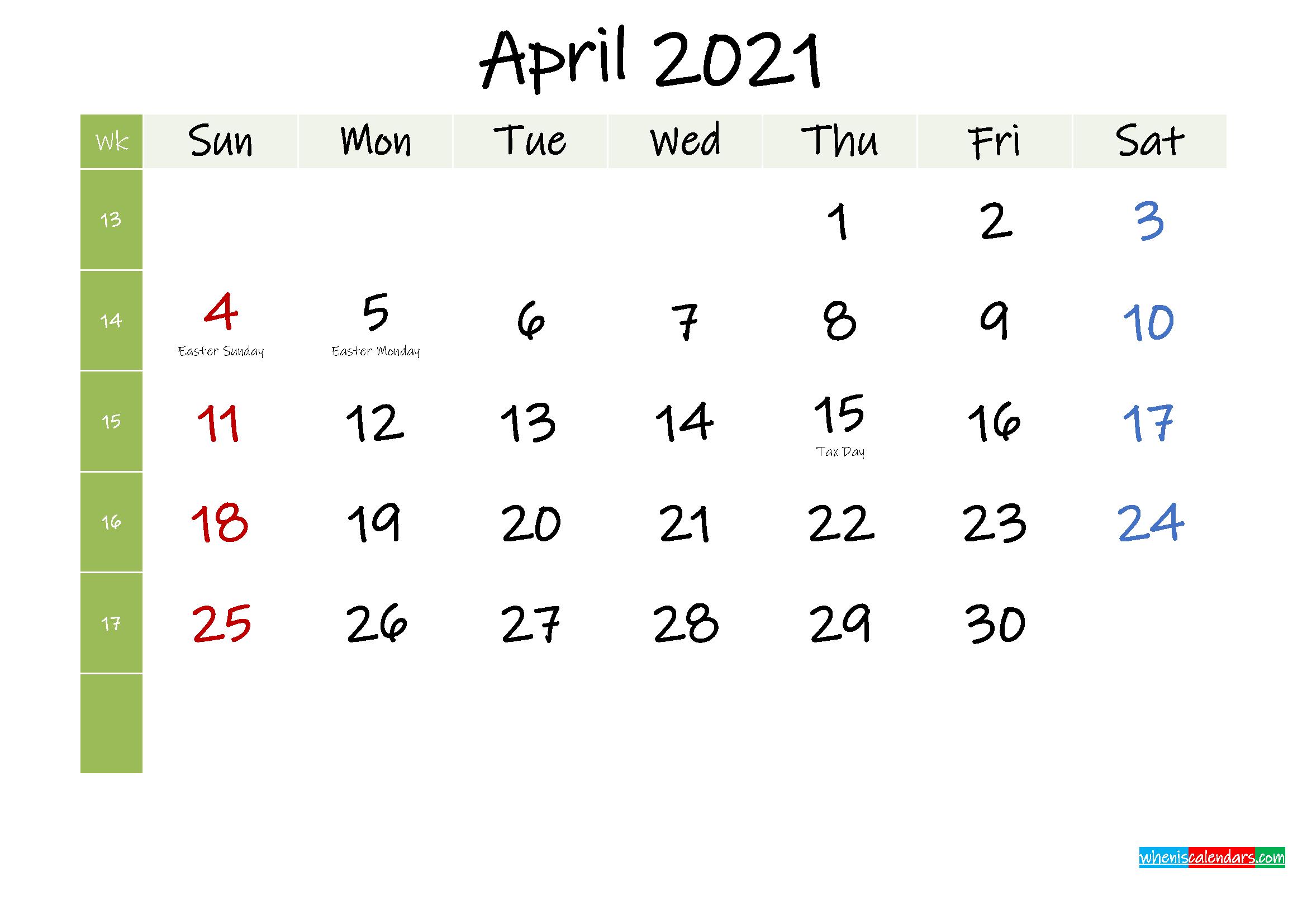 Free April 2021 Printable Calendar with Holidays