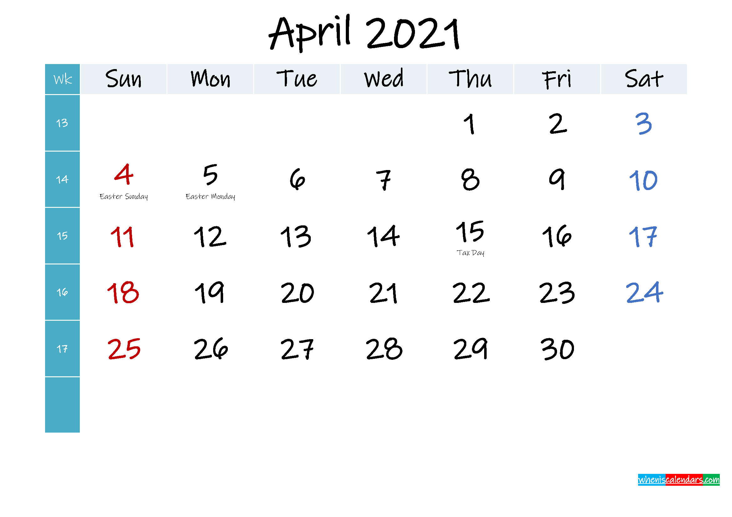 April 2021 Free Printable Calendar - Template No.ink21m400