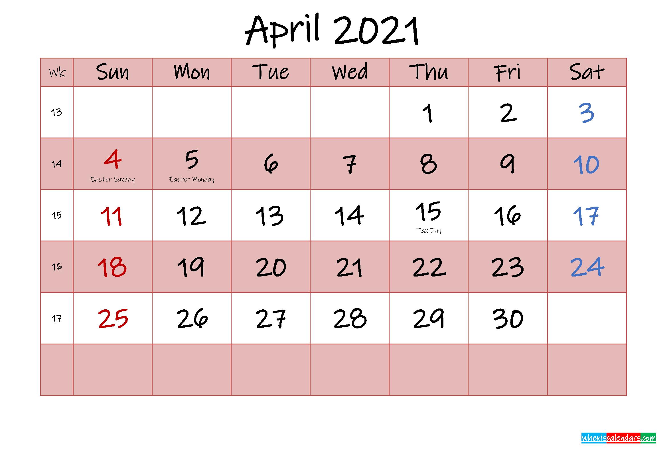 Free Printable Coloring Calendar 2021 April