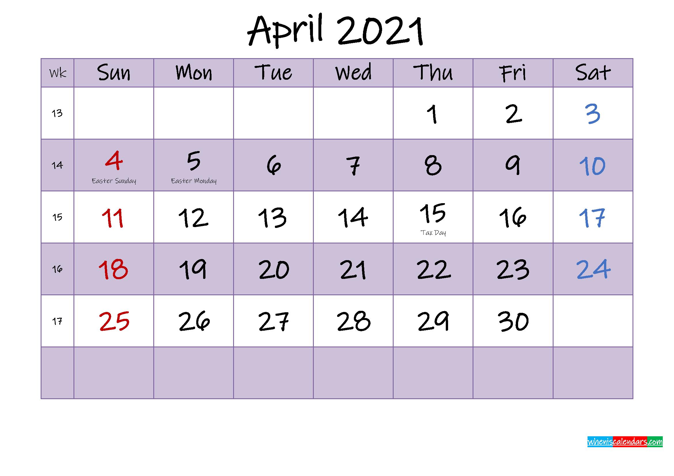 Editable April 2021 Calendar