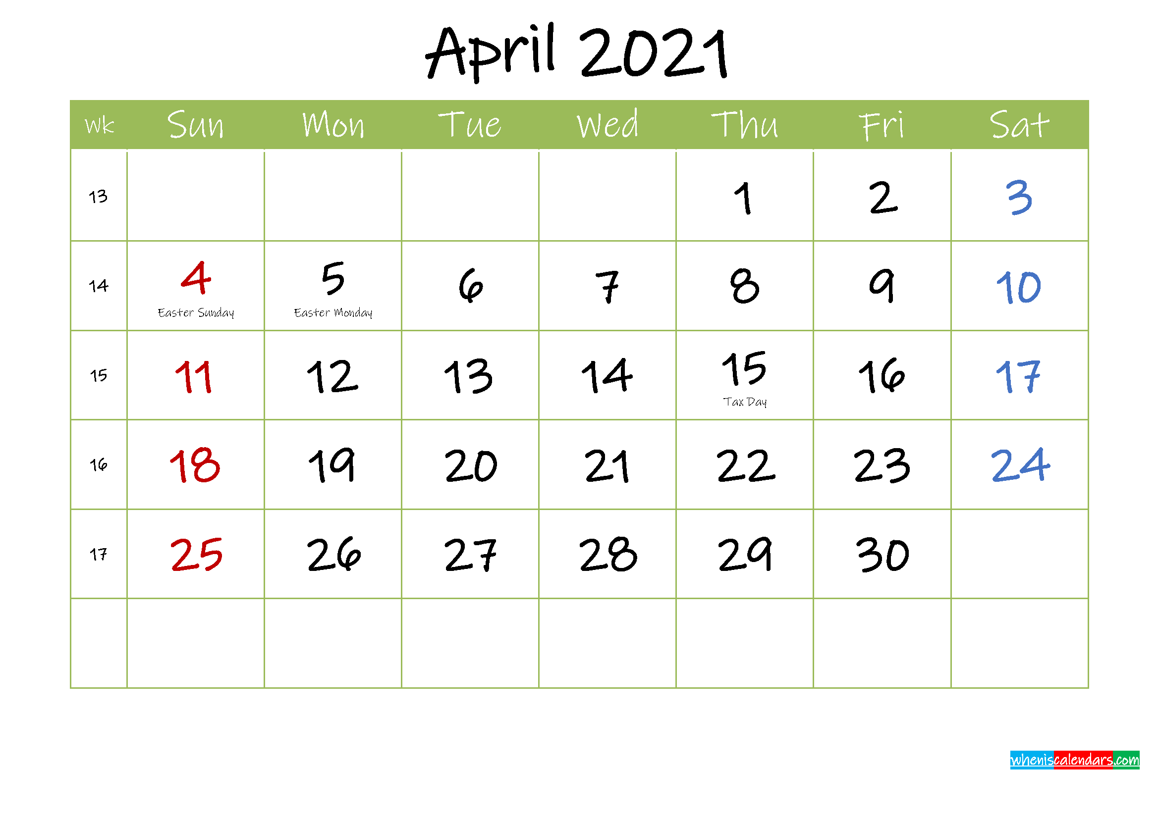 Free Printable April 2021 Calendar with Holidays ...