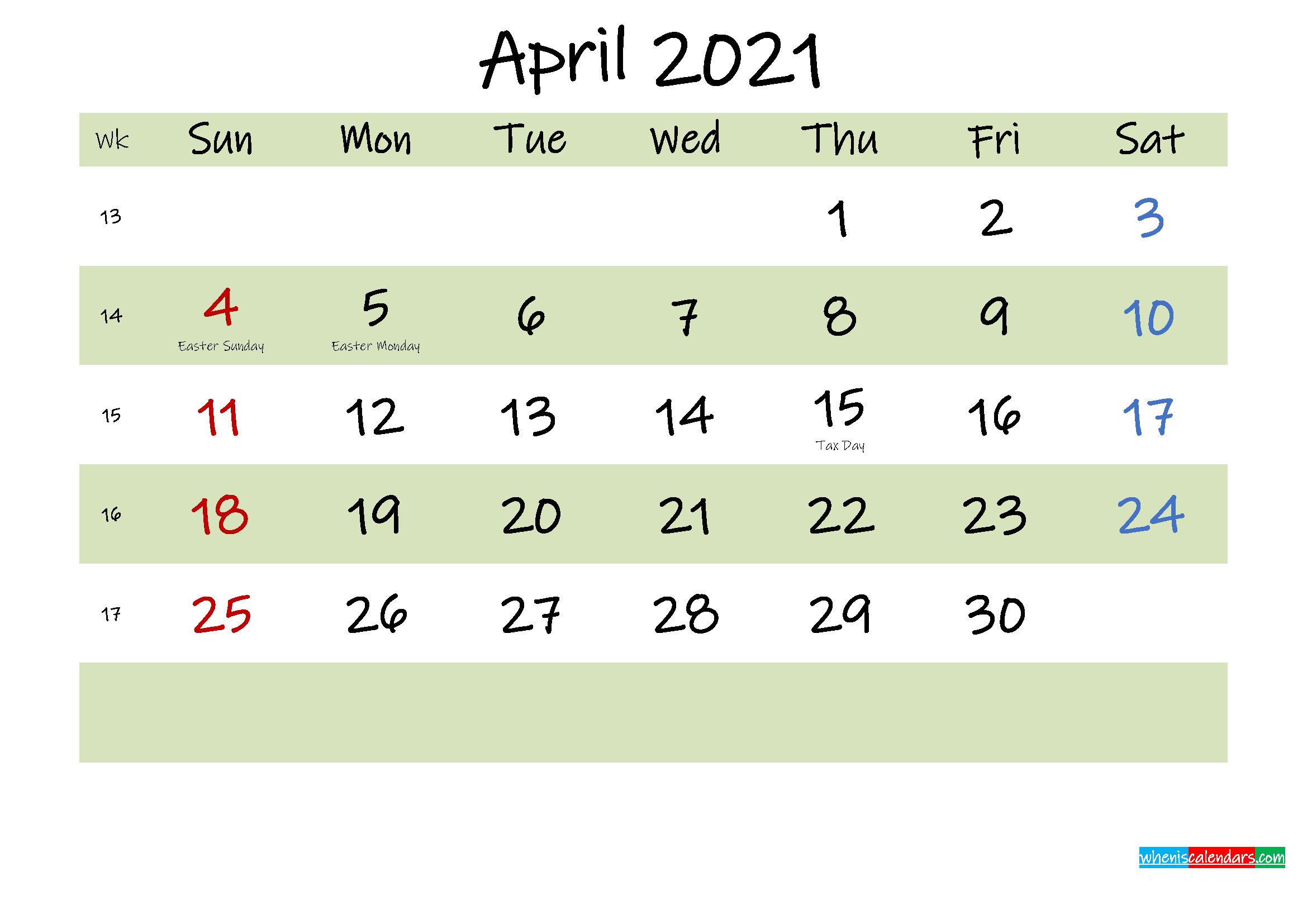 Free Printable April 2021 Calendar with Holidays