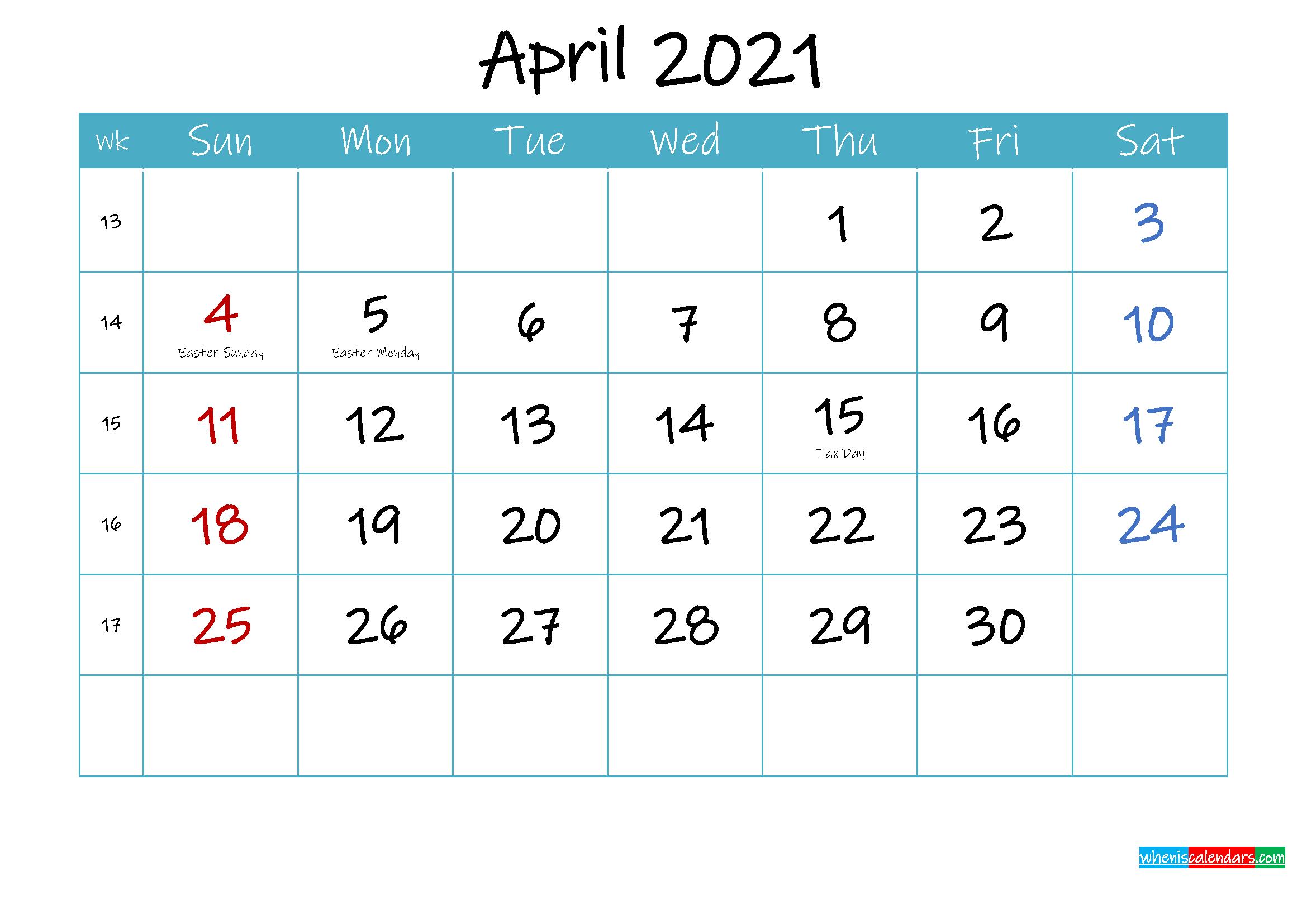 Printable April 2021 Calendar PDF
