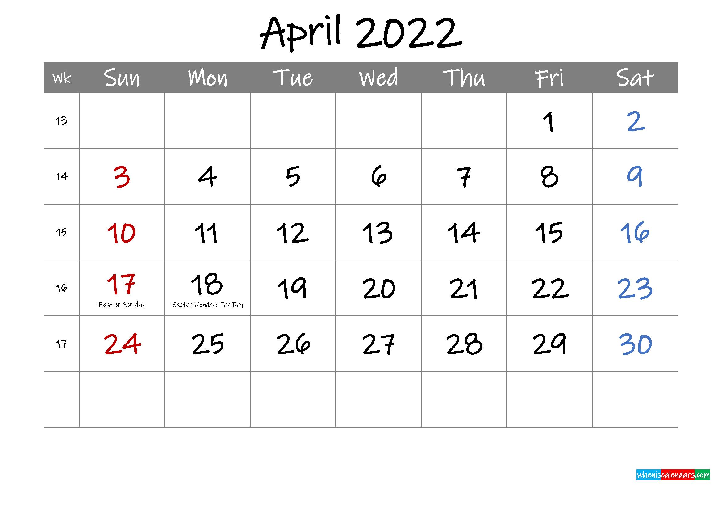 Editable April 2022 Calendar with Holidays