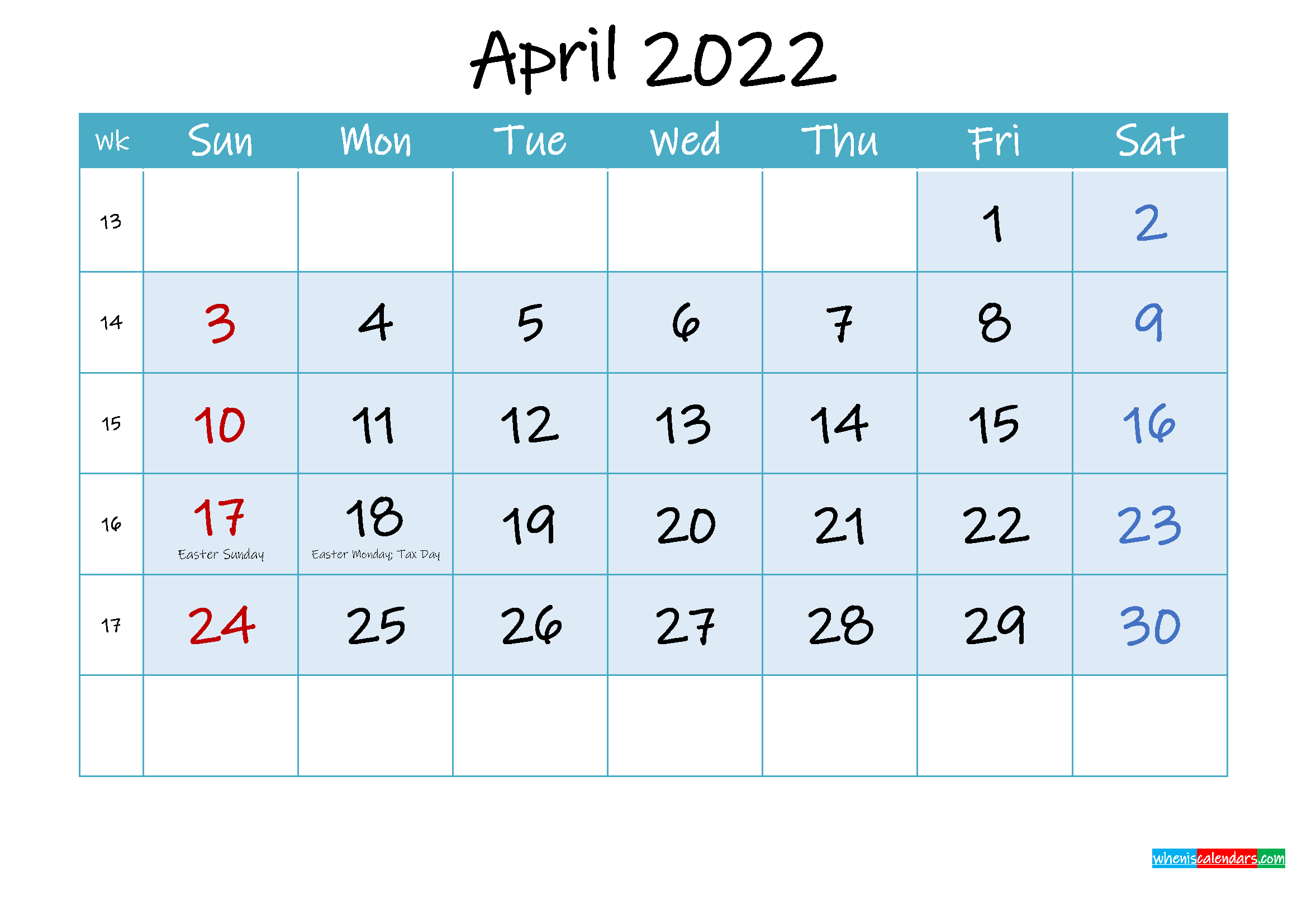 April 2022 Free Printable Calendar with Holidays