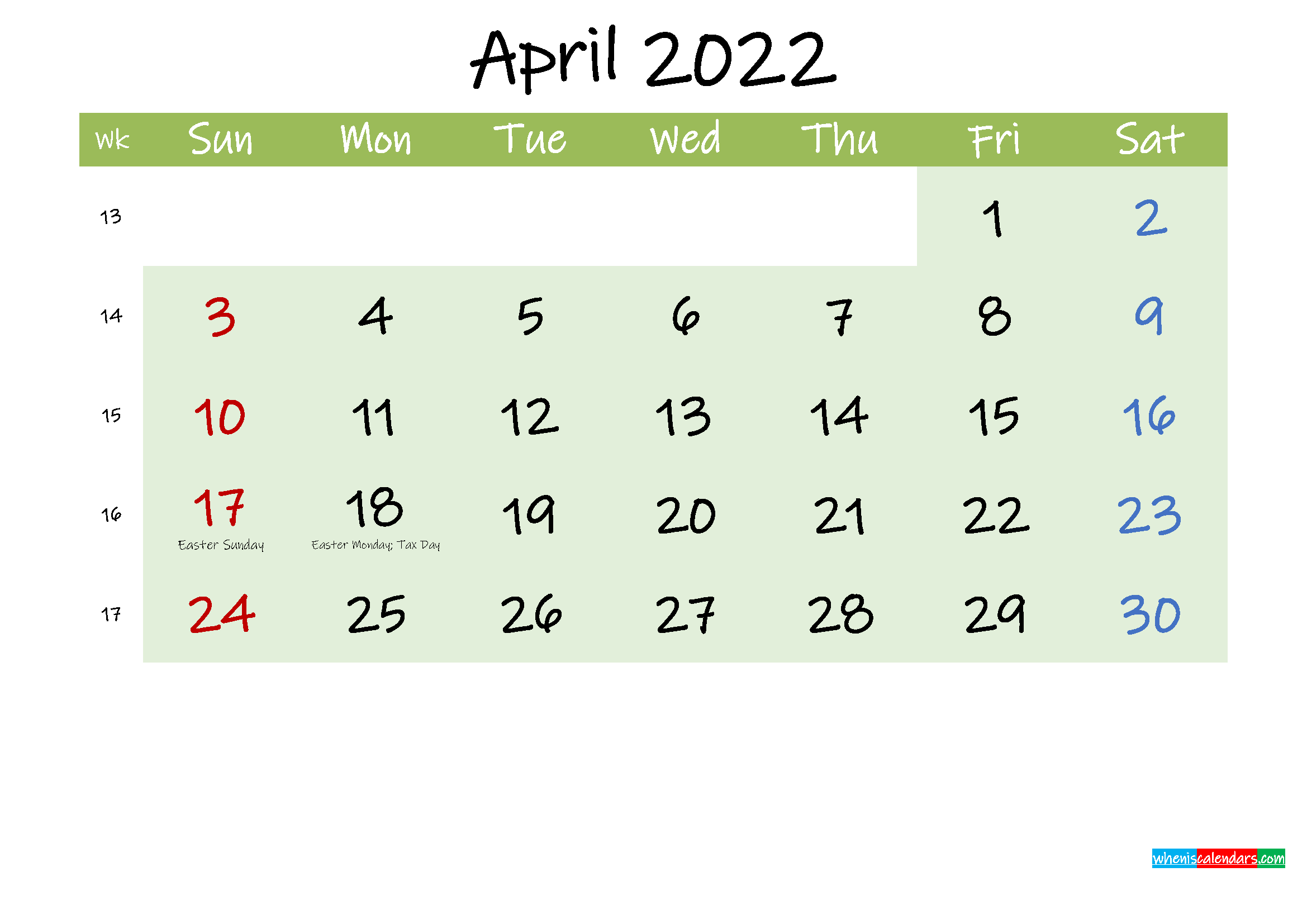 April 2022 Calendar with Holidays Printable