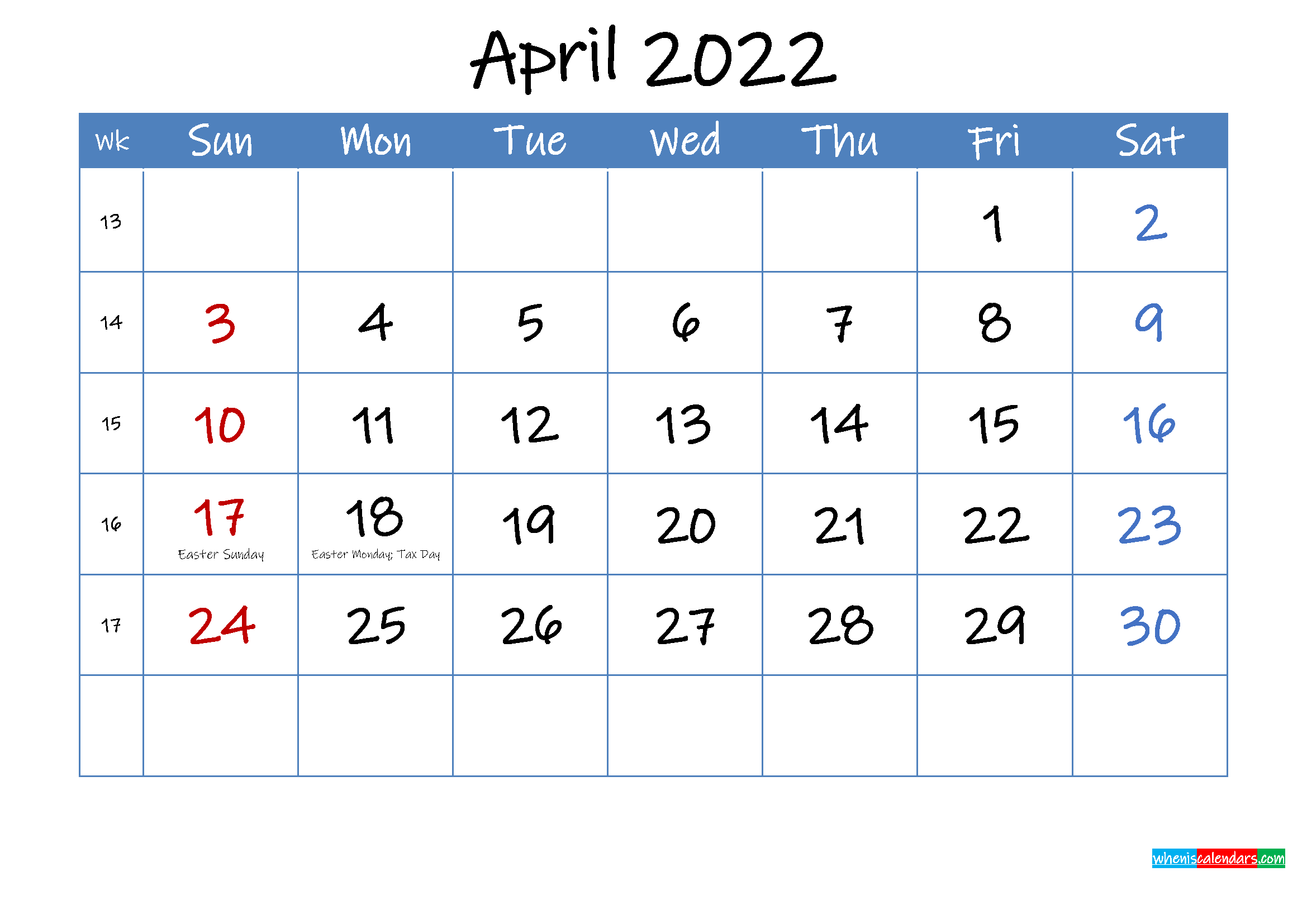 Printable April 2022 Calendar Word