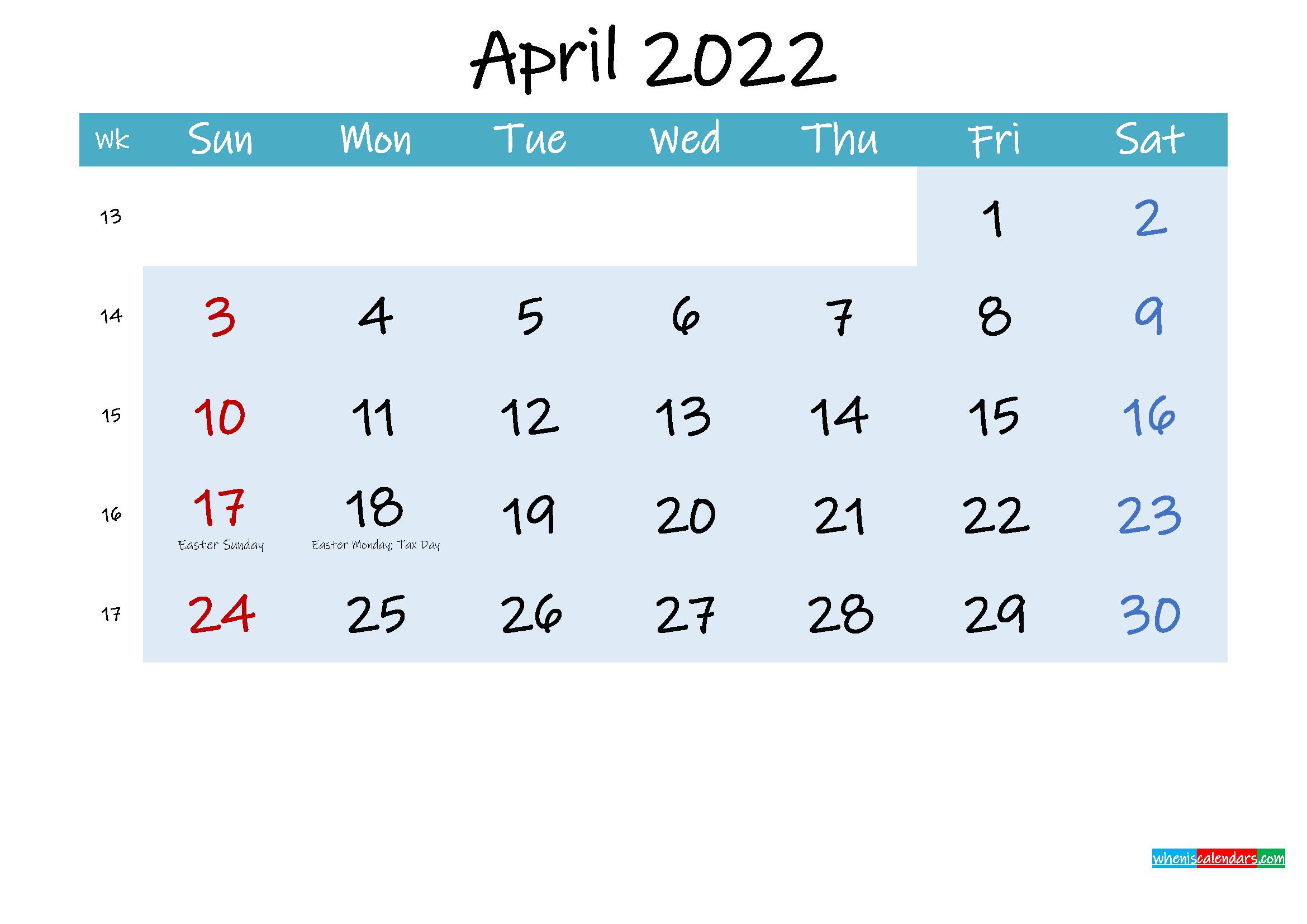 Printable April 2022 Calendar Word