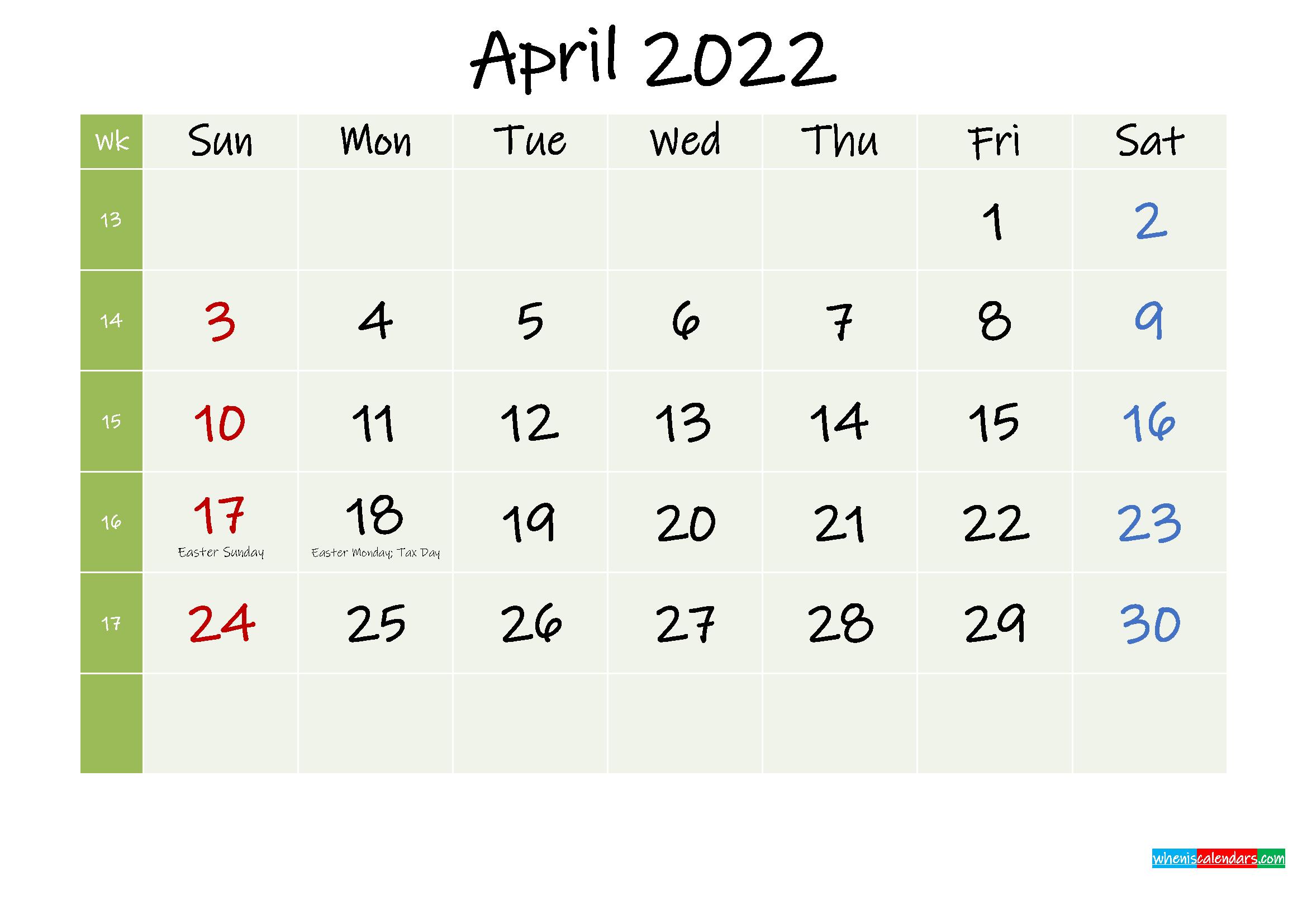 April 2022 Calendar with Holidays Printable