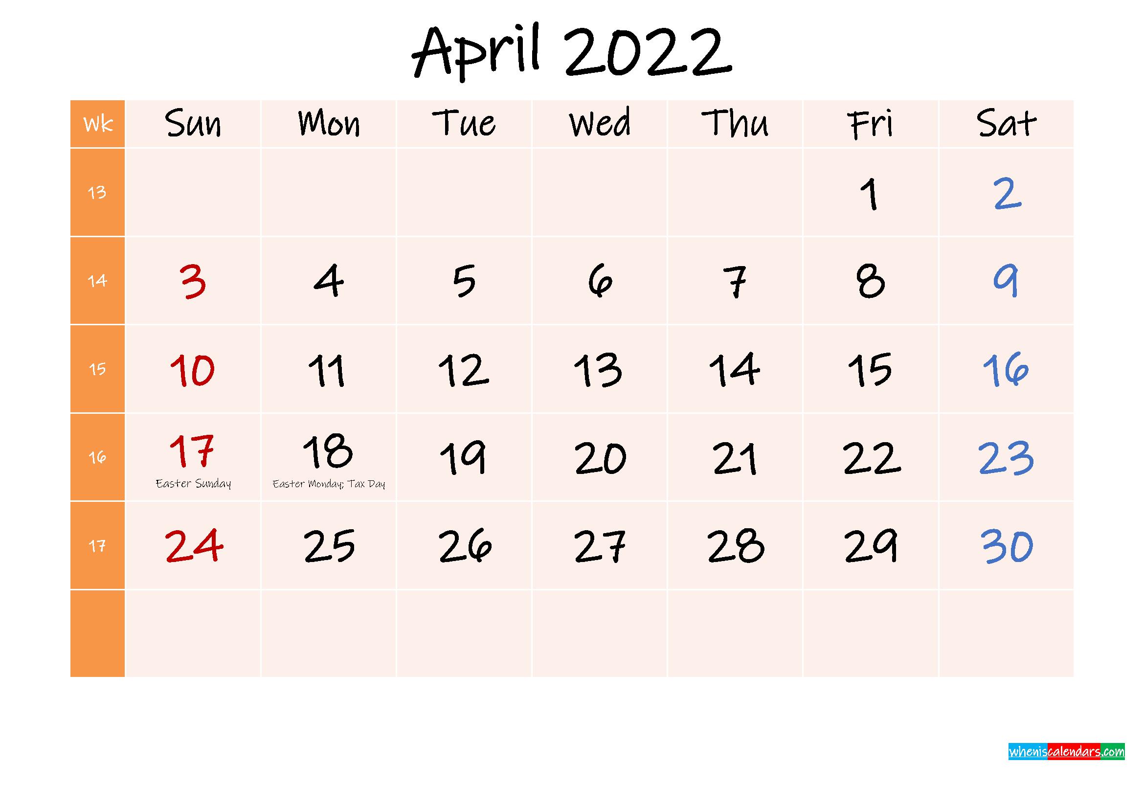Free Printable April 2022 Calendar with Holidays