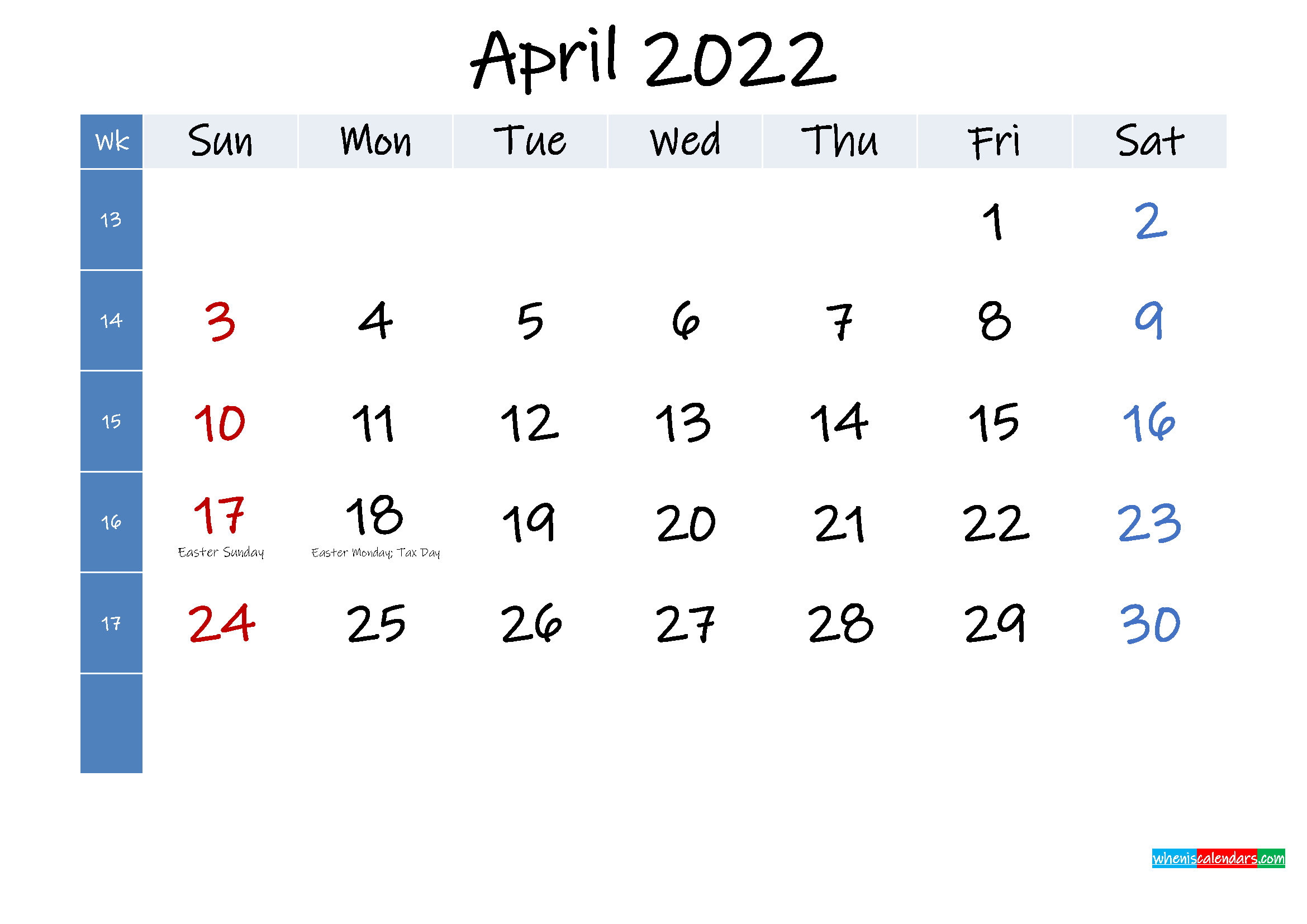 April 2022 Free Printable Calendar with Holidays