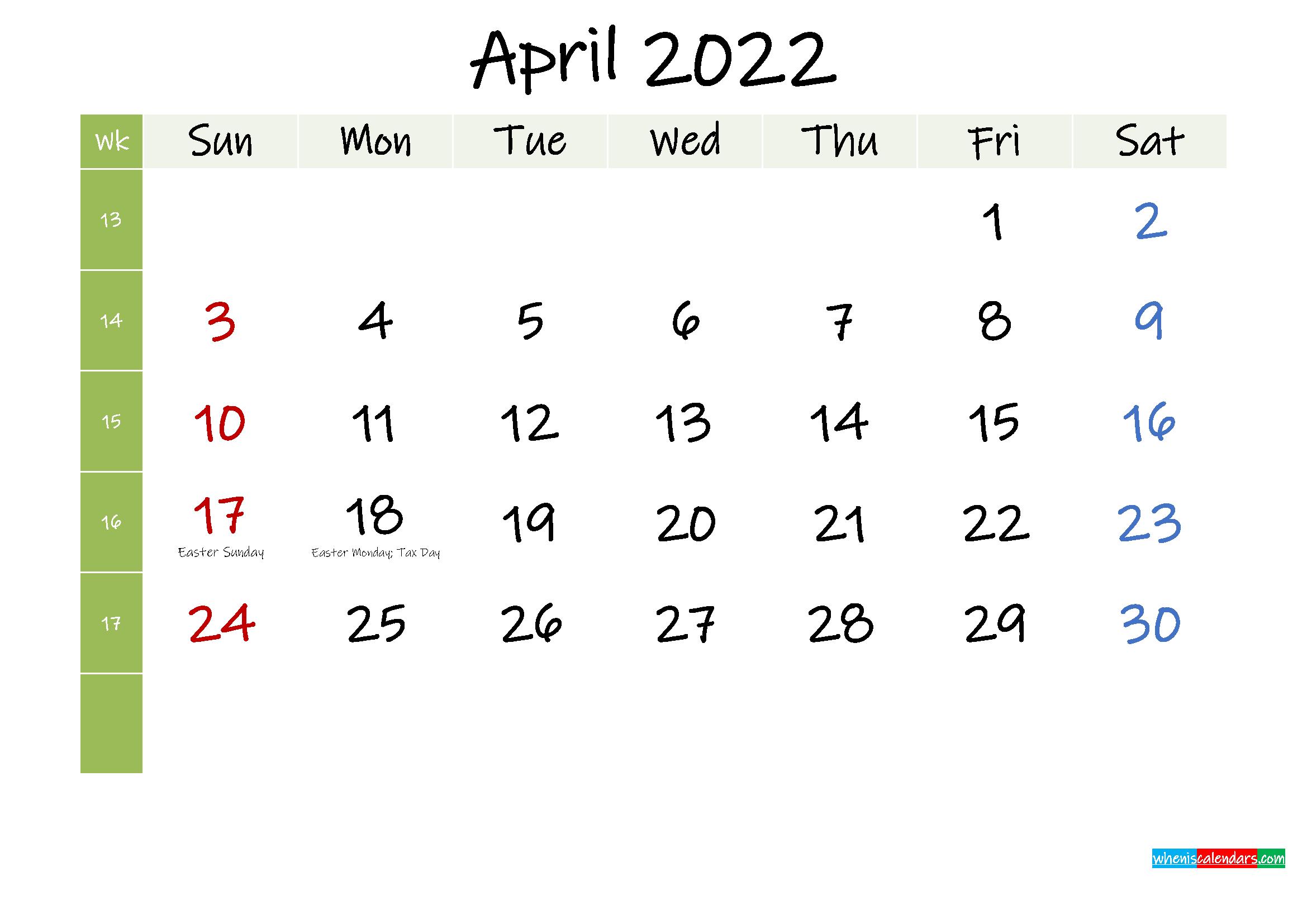 Free April 2022 Printable Calendar with Holidays