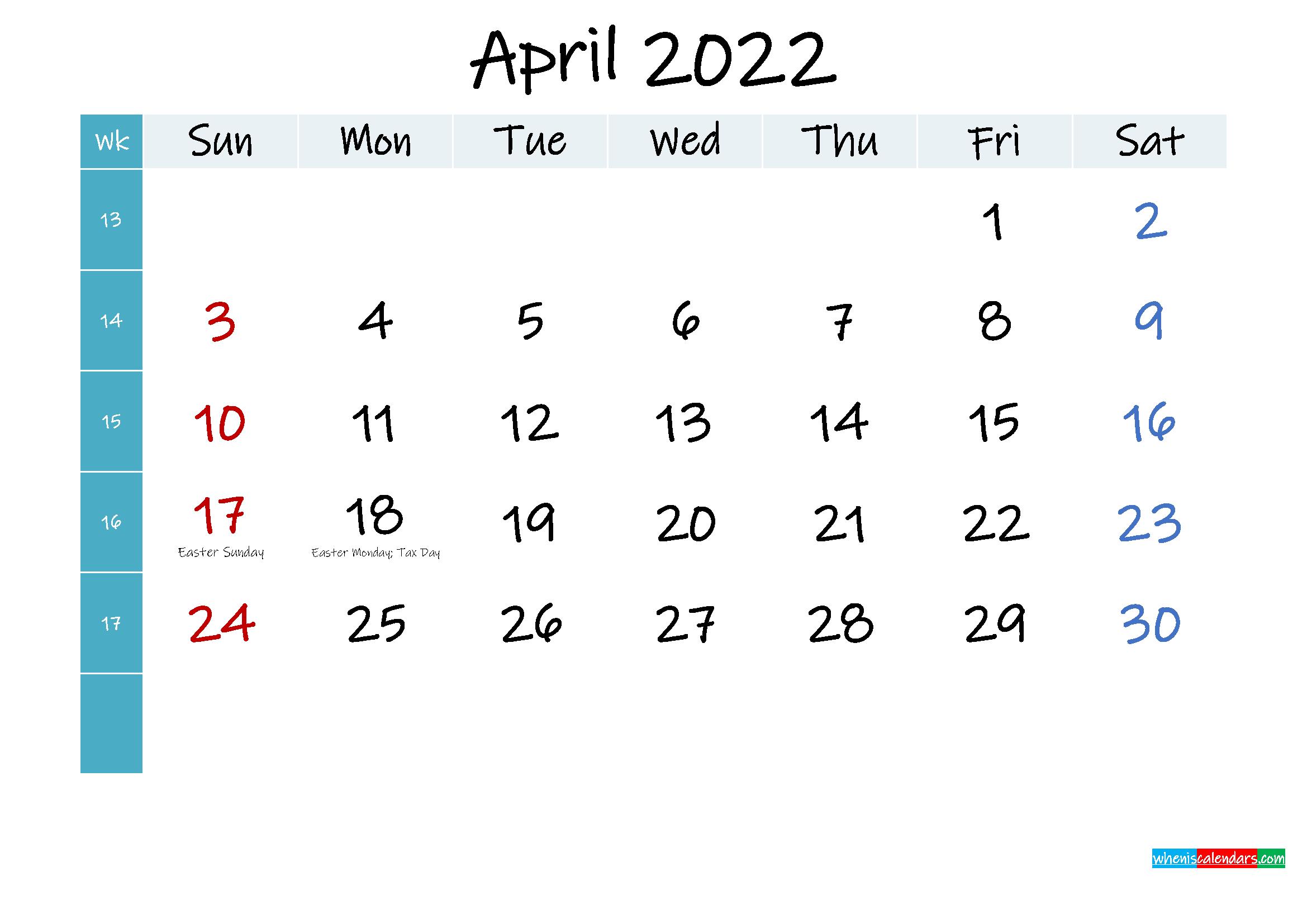 April 2022 Free Printable Calendar