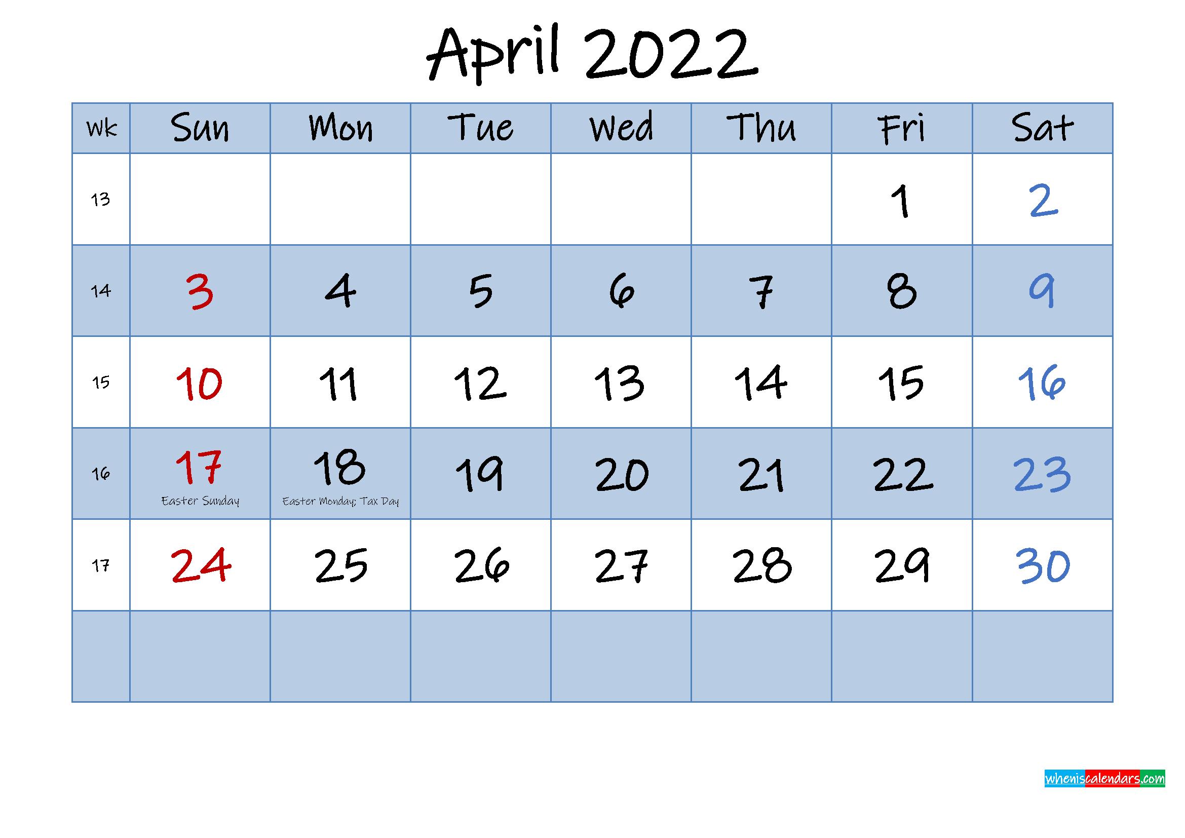 Free April 2022 Monthly Calendar PDF