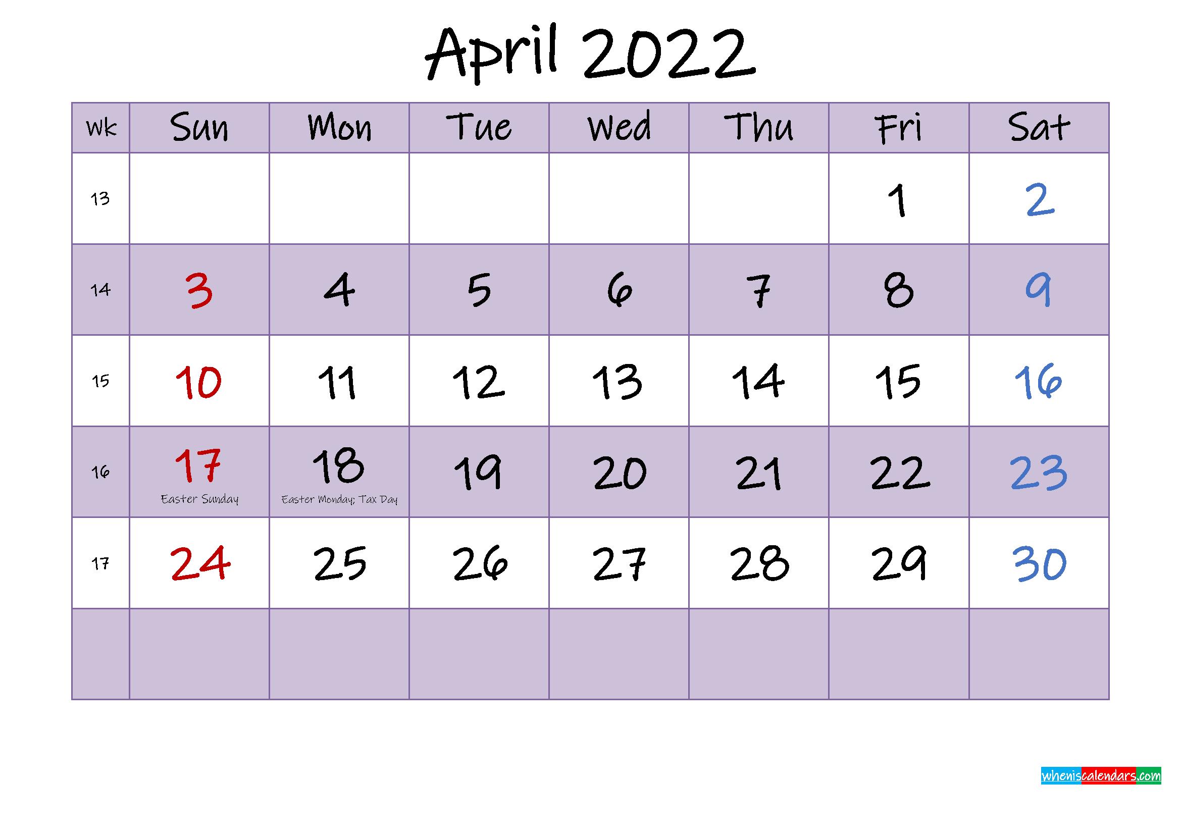Editable April 2022 Calendar