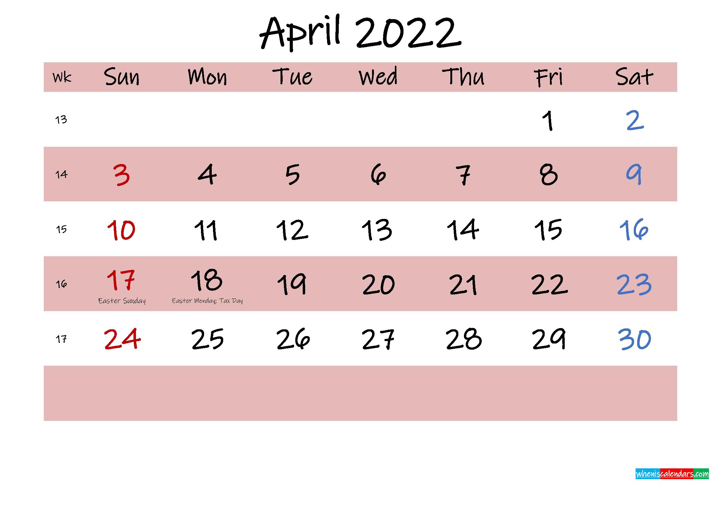 Printable April 2022 Calendar with Holidays