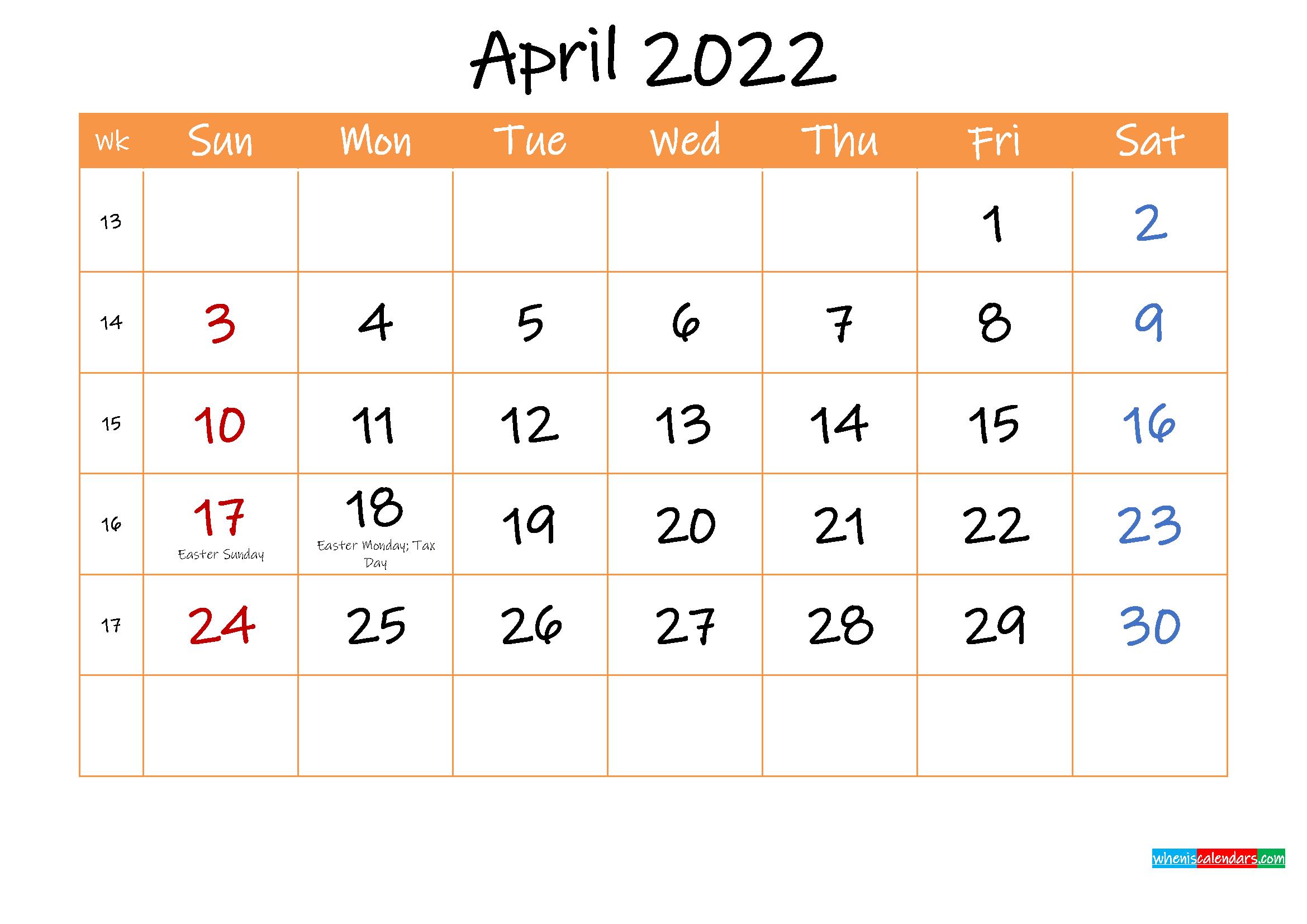 Free Printable Calendar April 2022