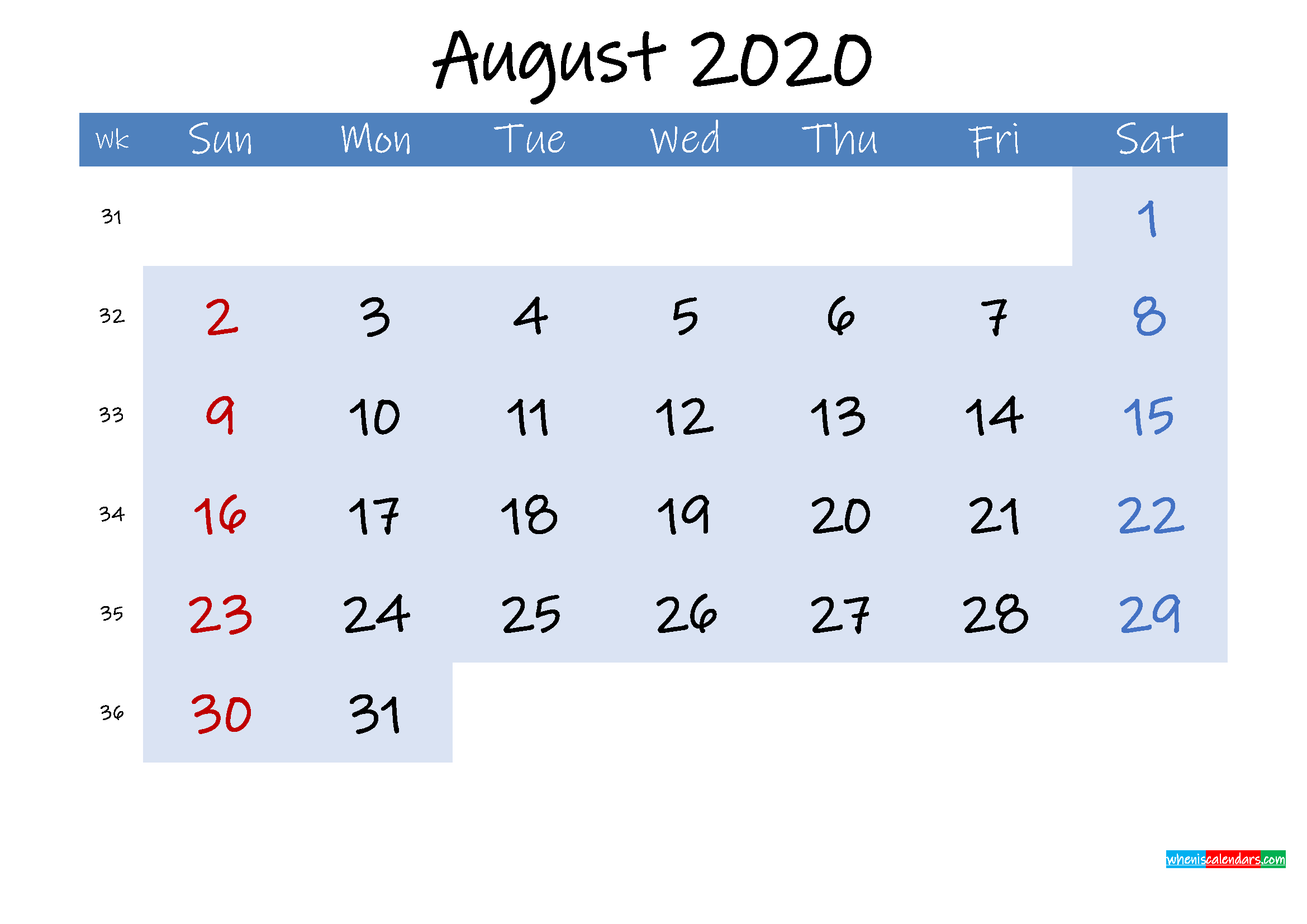 Free August 2020 Monthly Calendar PDF