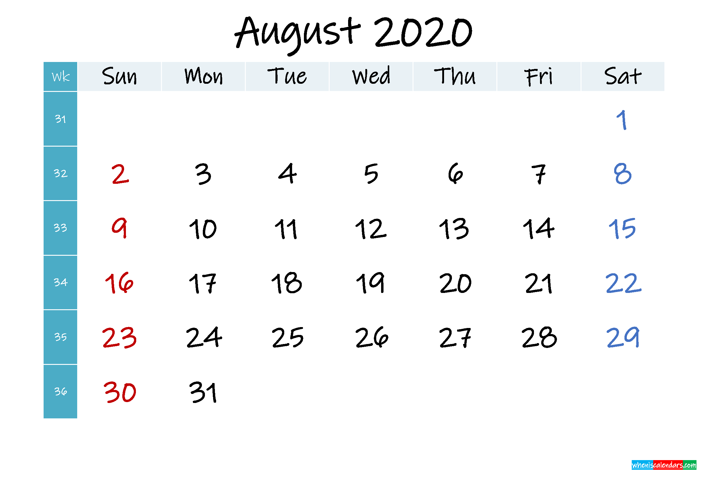 August 2020 Free Printable Calendar