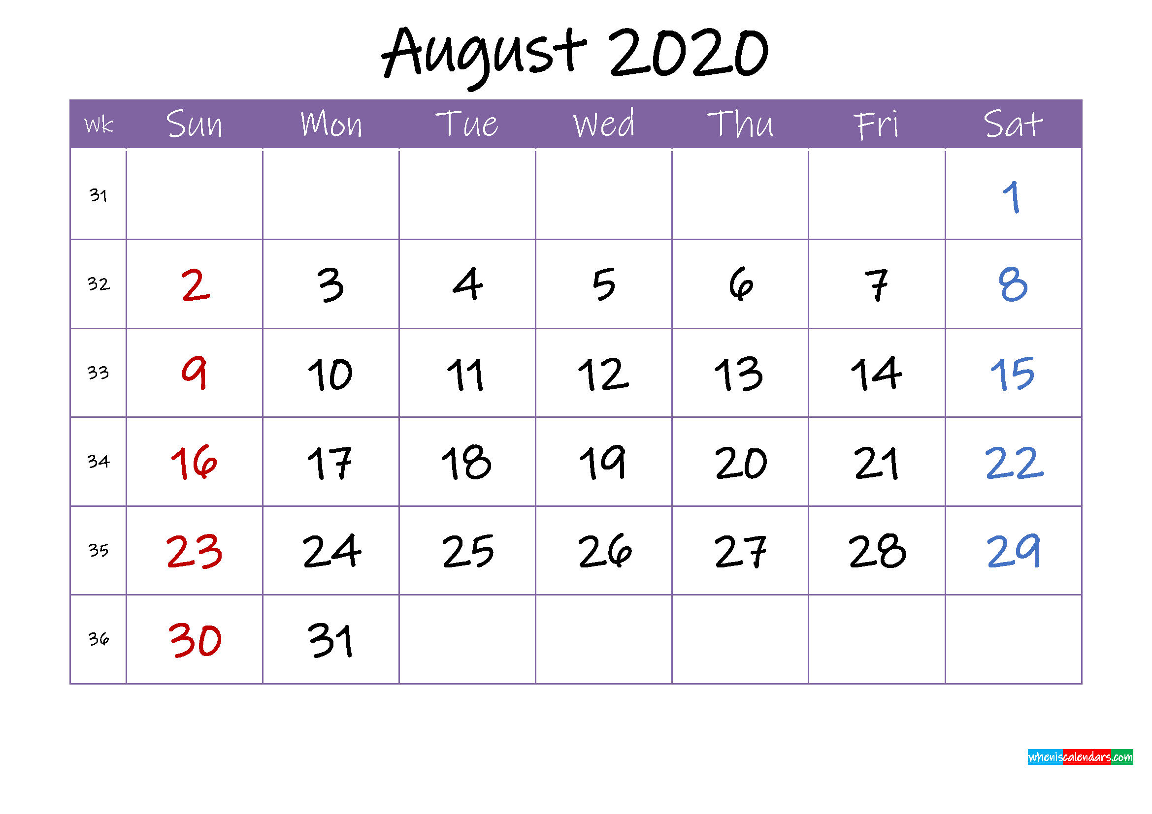 August 2020 Calendar with Holidays Printable