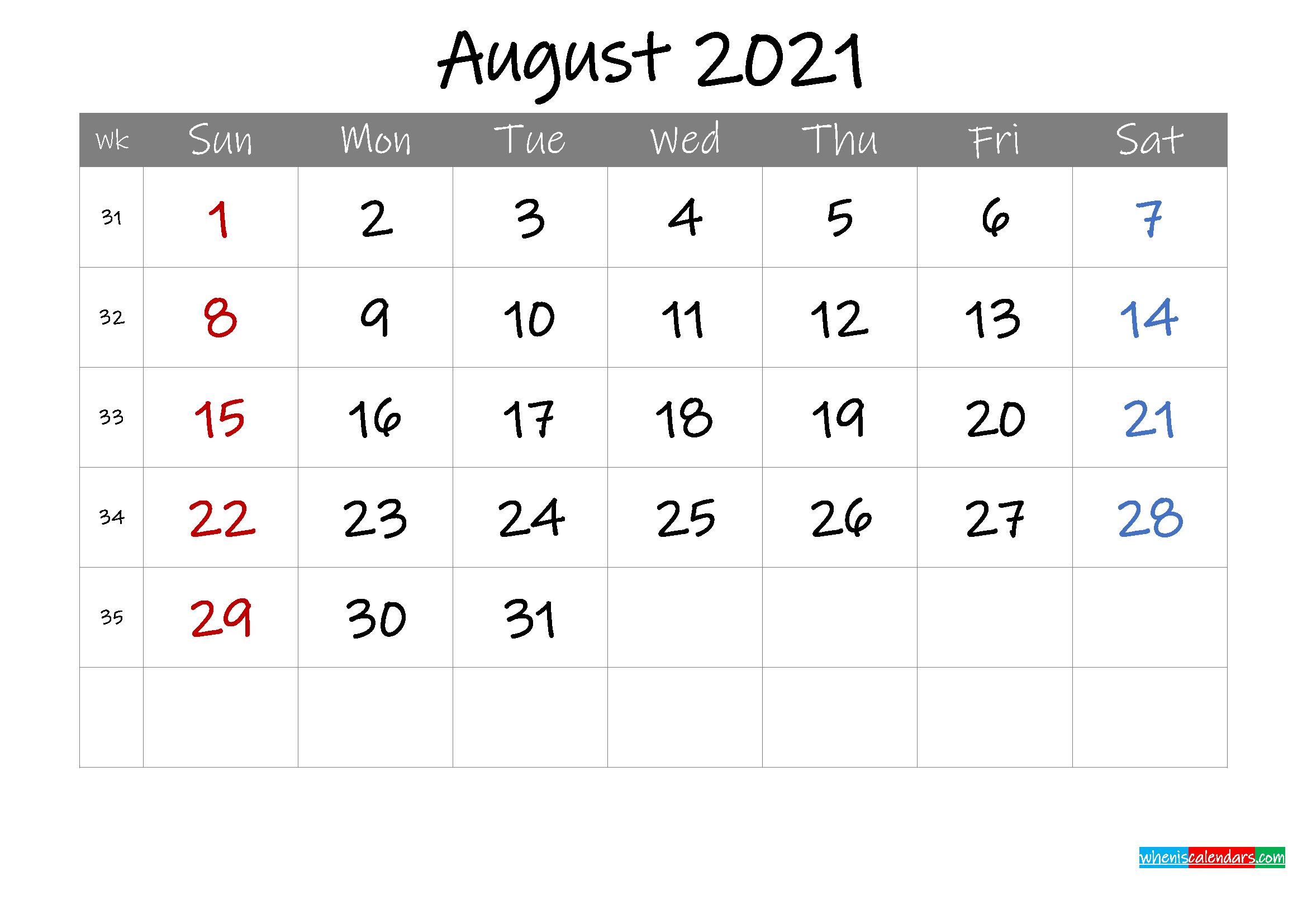 Editable August 2021 Calendar with Holidays