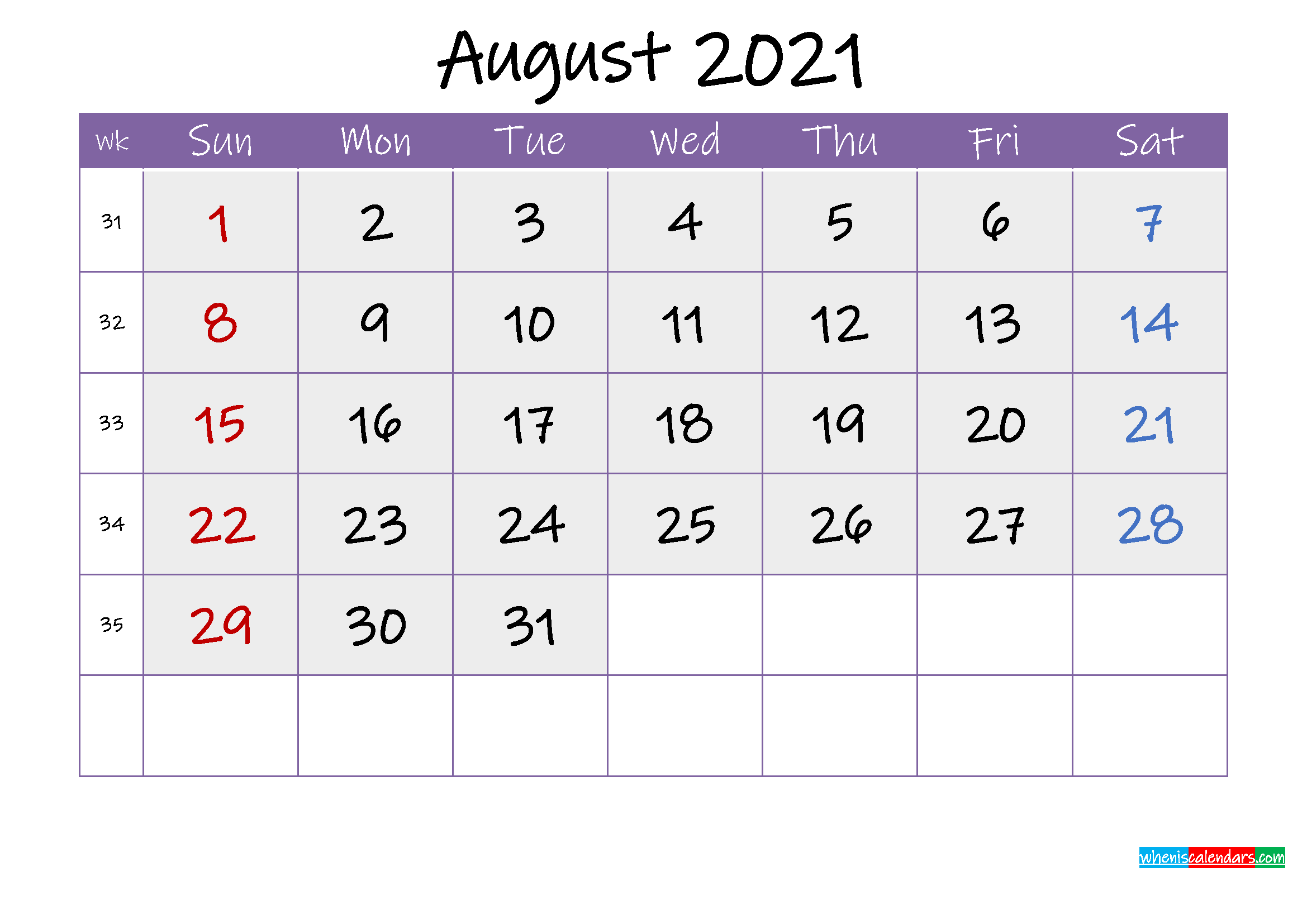 Free August 2021 Printable Calendar with Holidays